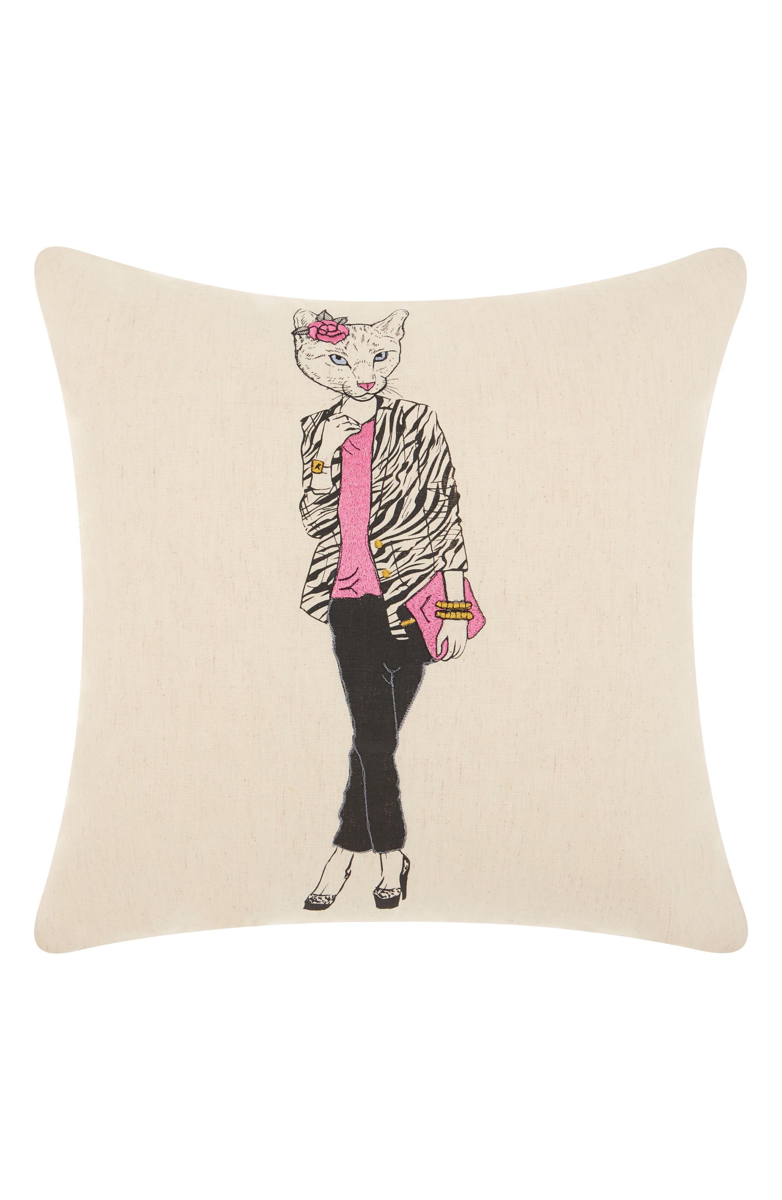 Classy Kitty Accent Pillow,                         Main,                         color, Natural