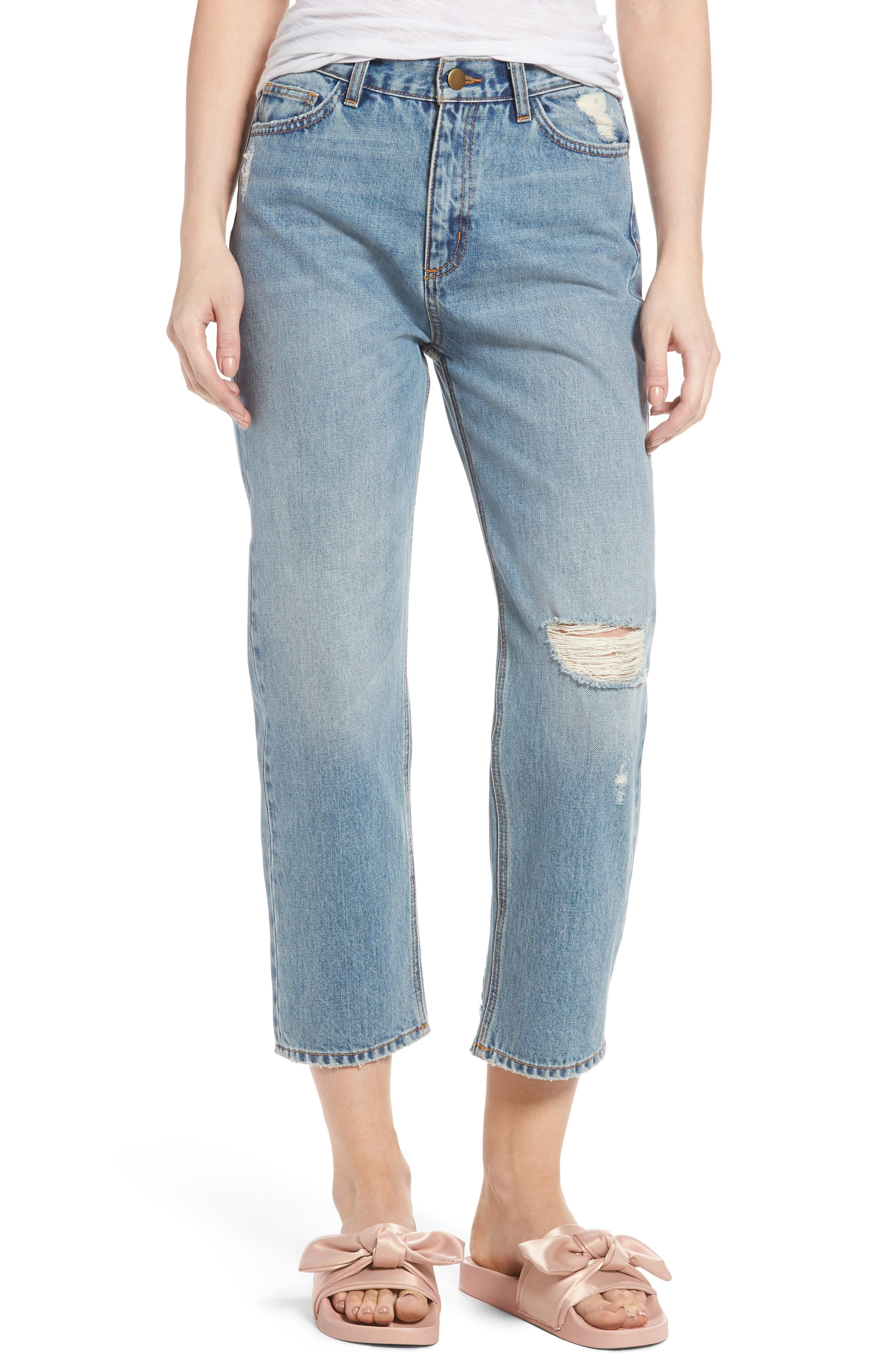 EVIDNT Ripped Crop Straight Leg Jeans