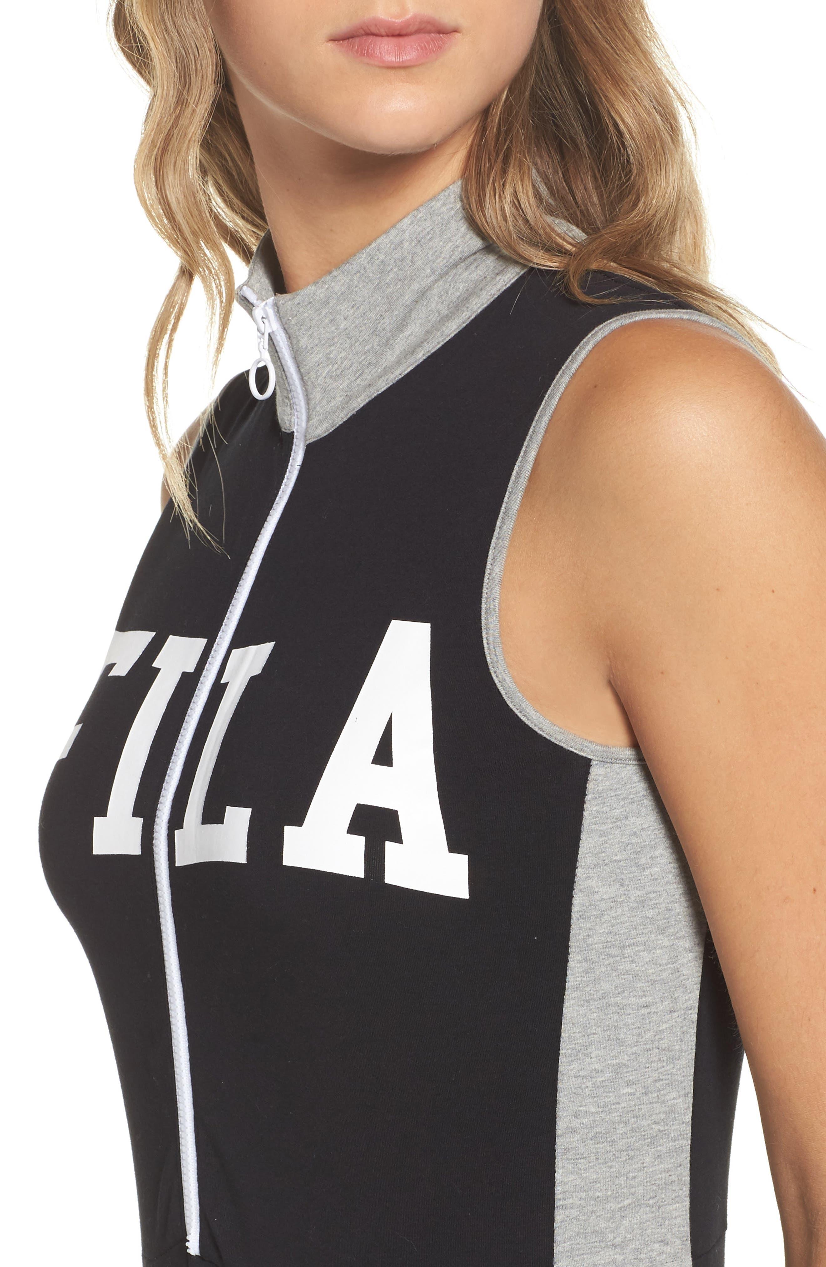 Roseann Jumpsuit,                             Alternate thumbnail 4, color,                             Black/ Grey Heather/ White