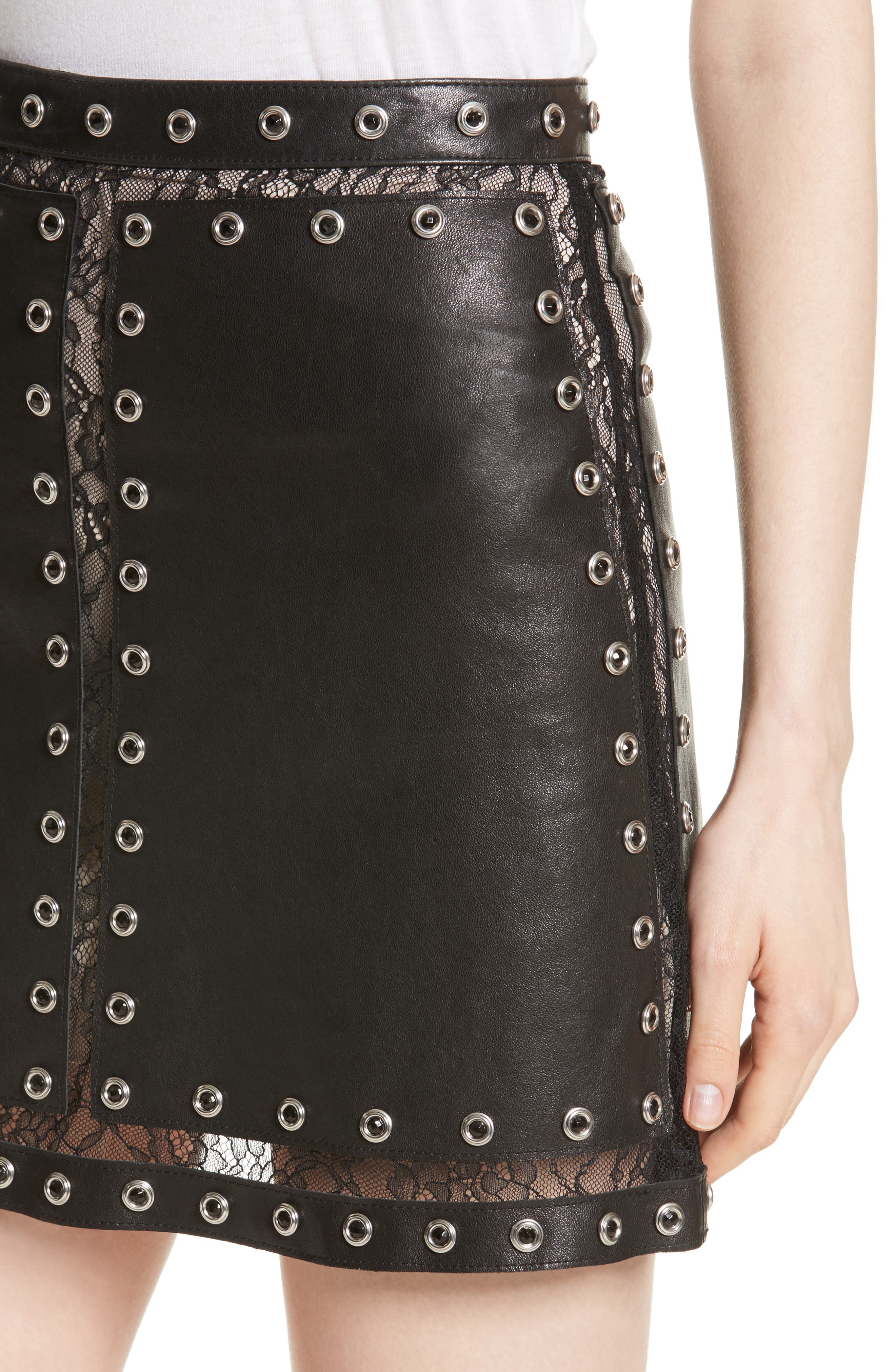 Riley Studded Leather Mini Skirt,                             Alternate thumbnail 4, color,                             Black