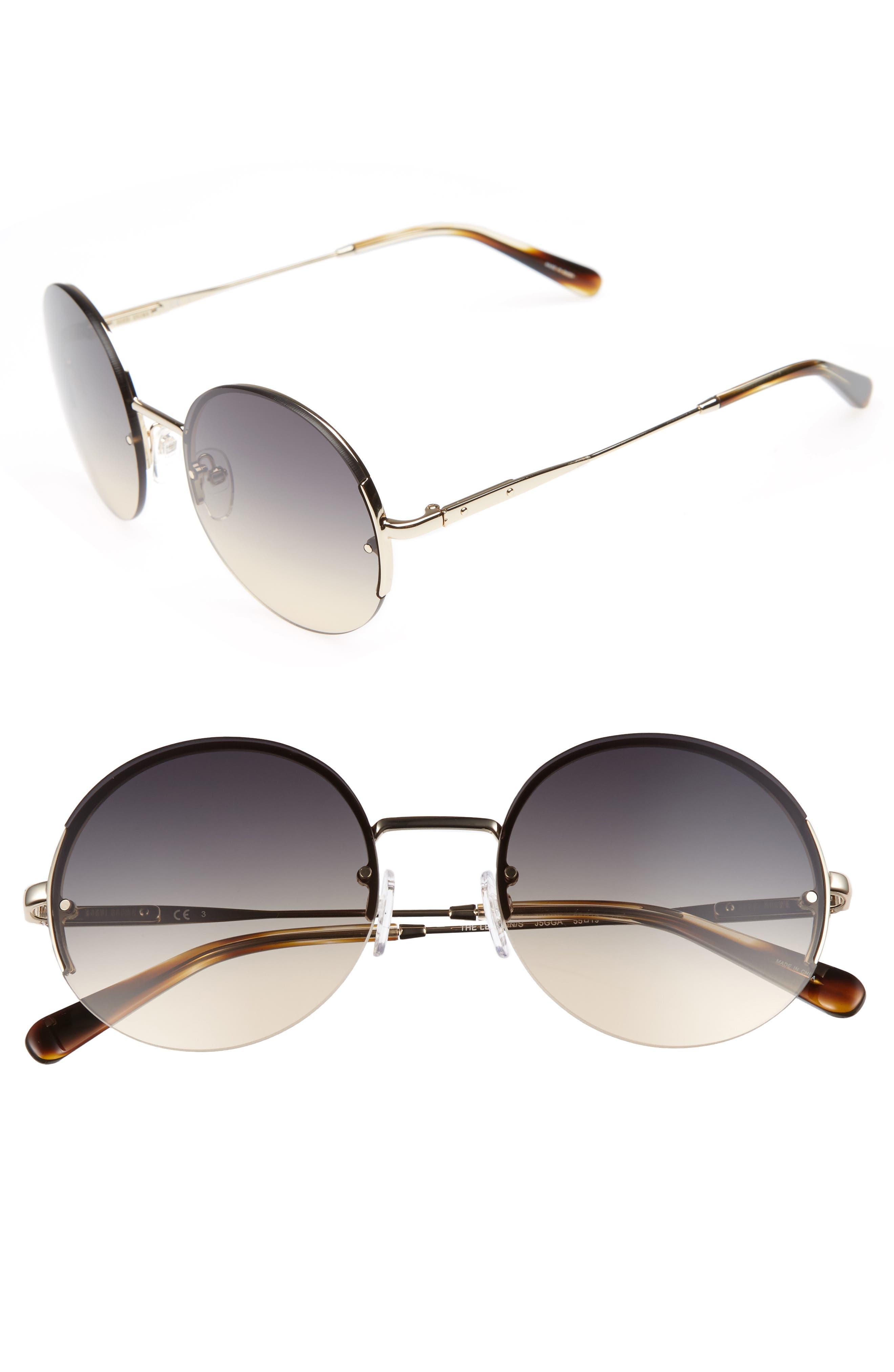55mm Round Sunglasses,                             Main thumbnail 1, color,                             Endura Gold