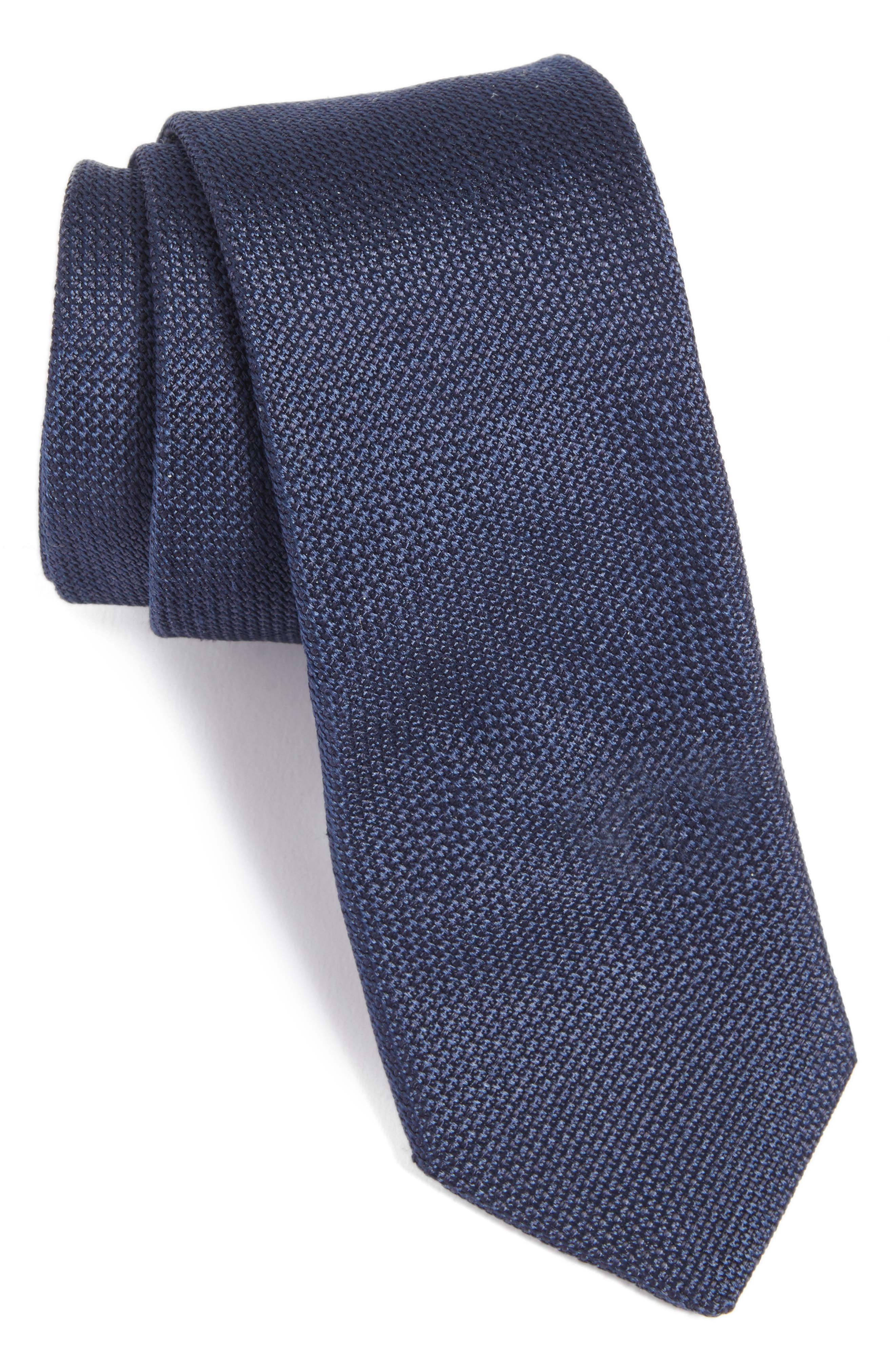 Solid Silk Tie,                         Main,                         color, Navy