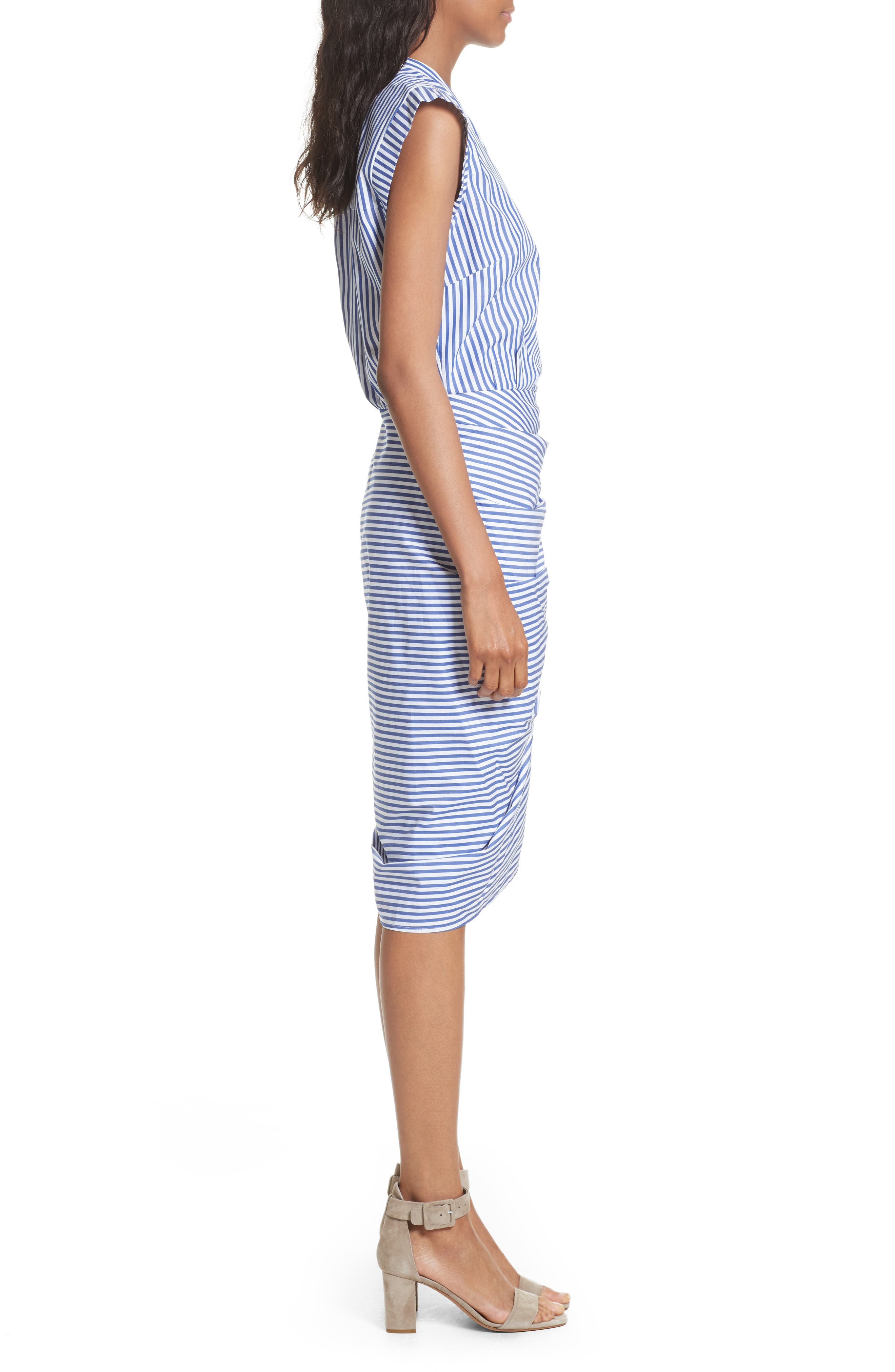 Ruched Stripe Shirtdress,                             Alternate thumbnail 3, color,                             Blue/ White Stripe