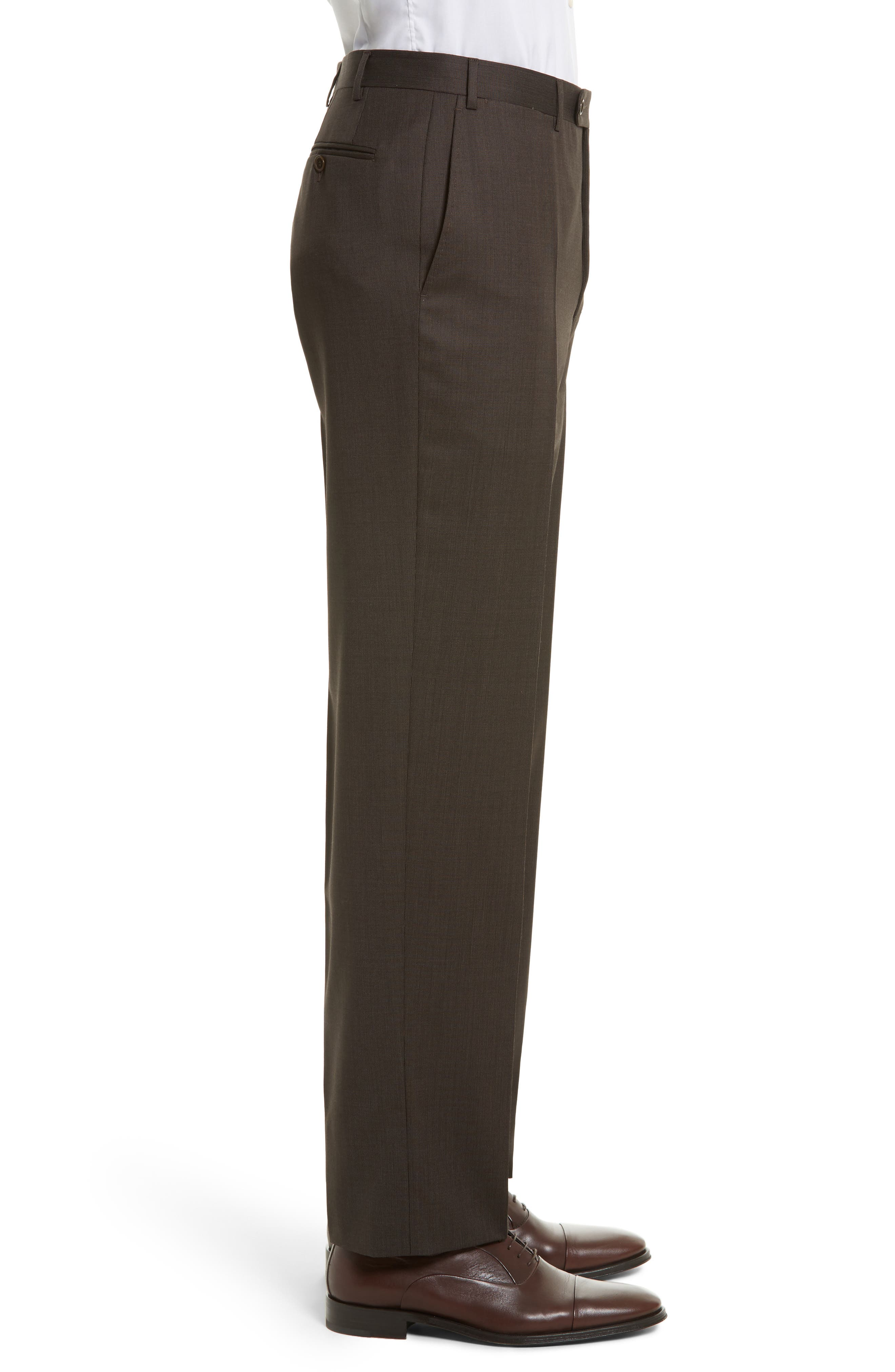 Flat Front Stripe Wool Trousers,                             Alternate thumbnail 3, color,                             Brown