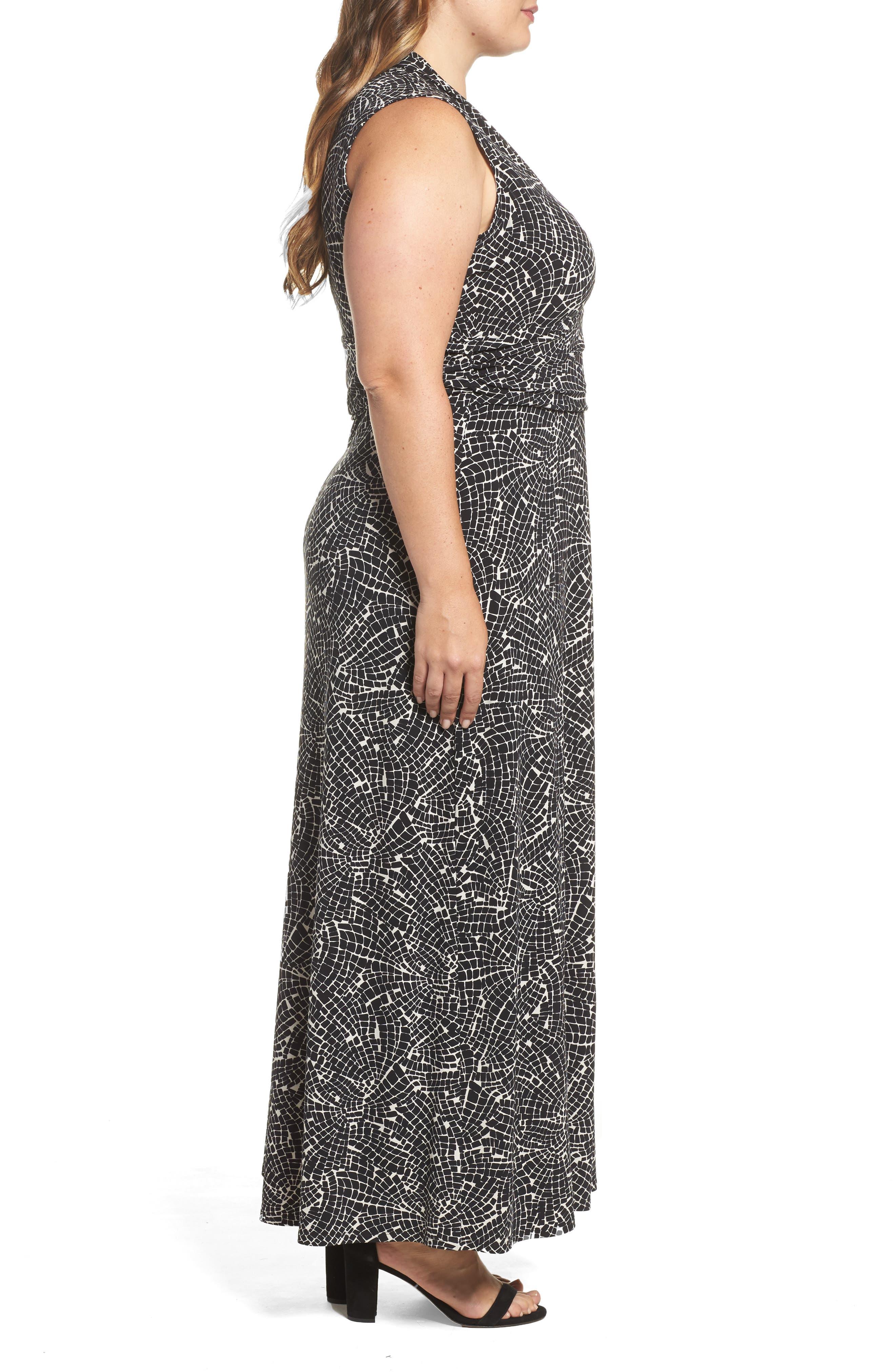 Modern Mosaic Maxi Dress,                             Alternate thumbnail 3, color,                             Rich Black