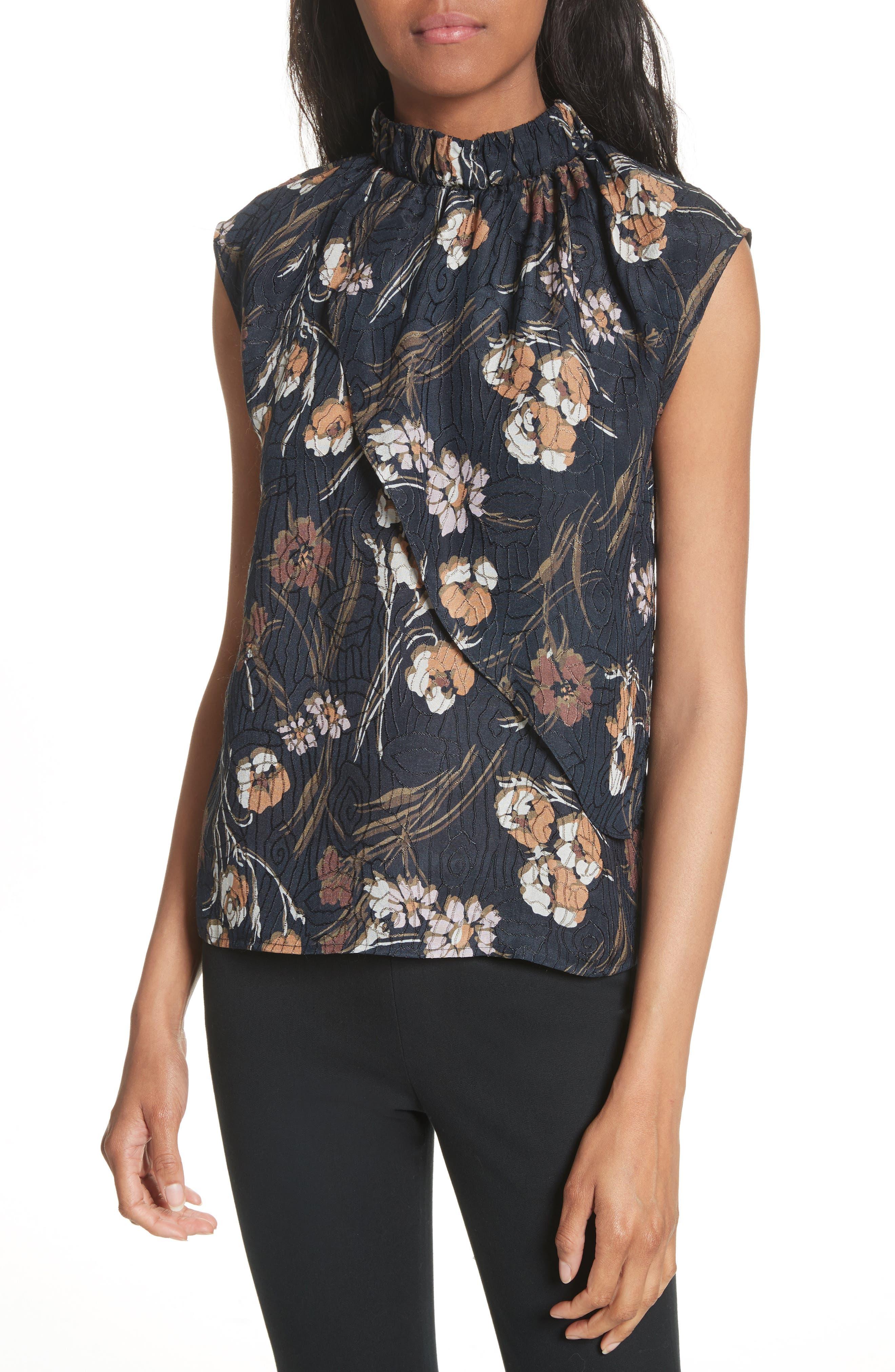 Derek Lam 10 Crosby Floral Silk Blend Blouse