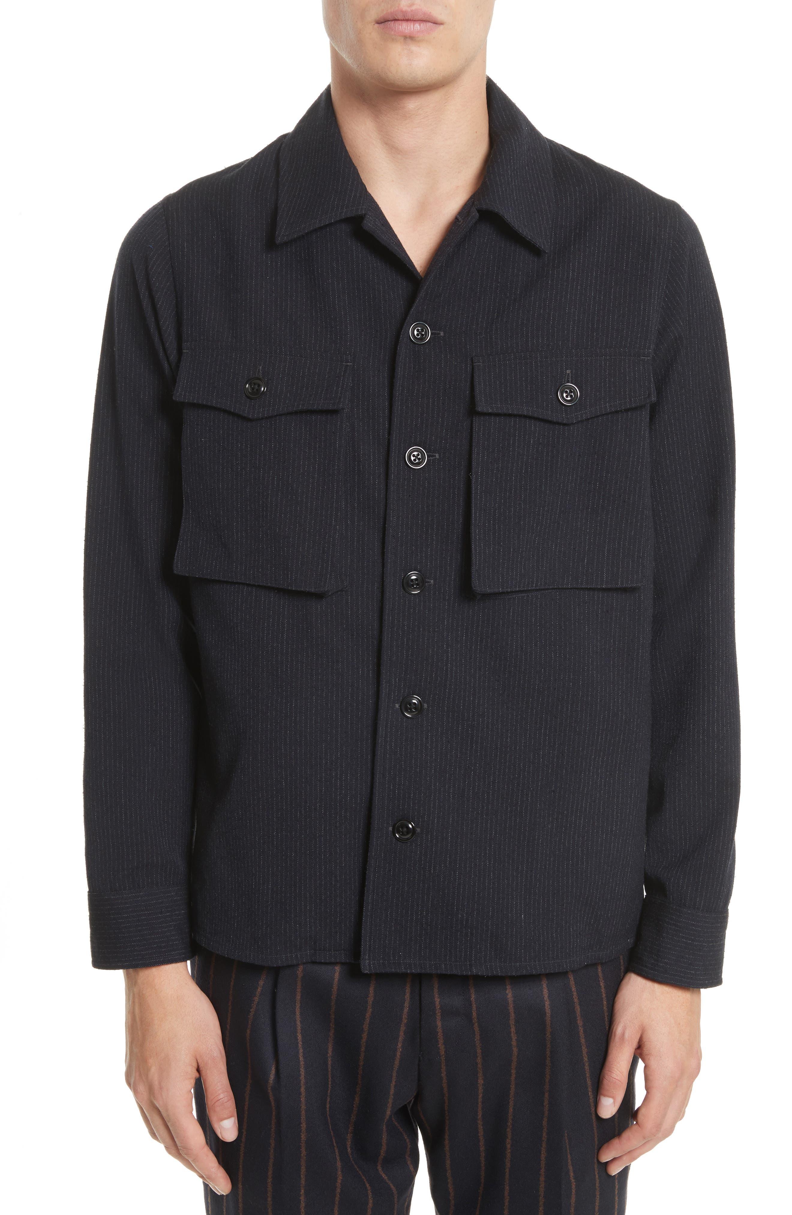 Tomorrowland Pinstripe Flannel Shirt Jacket