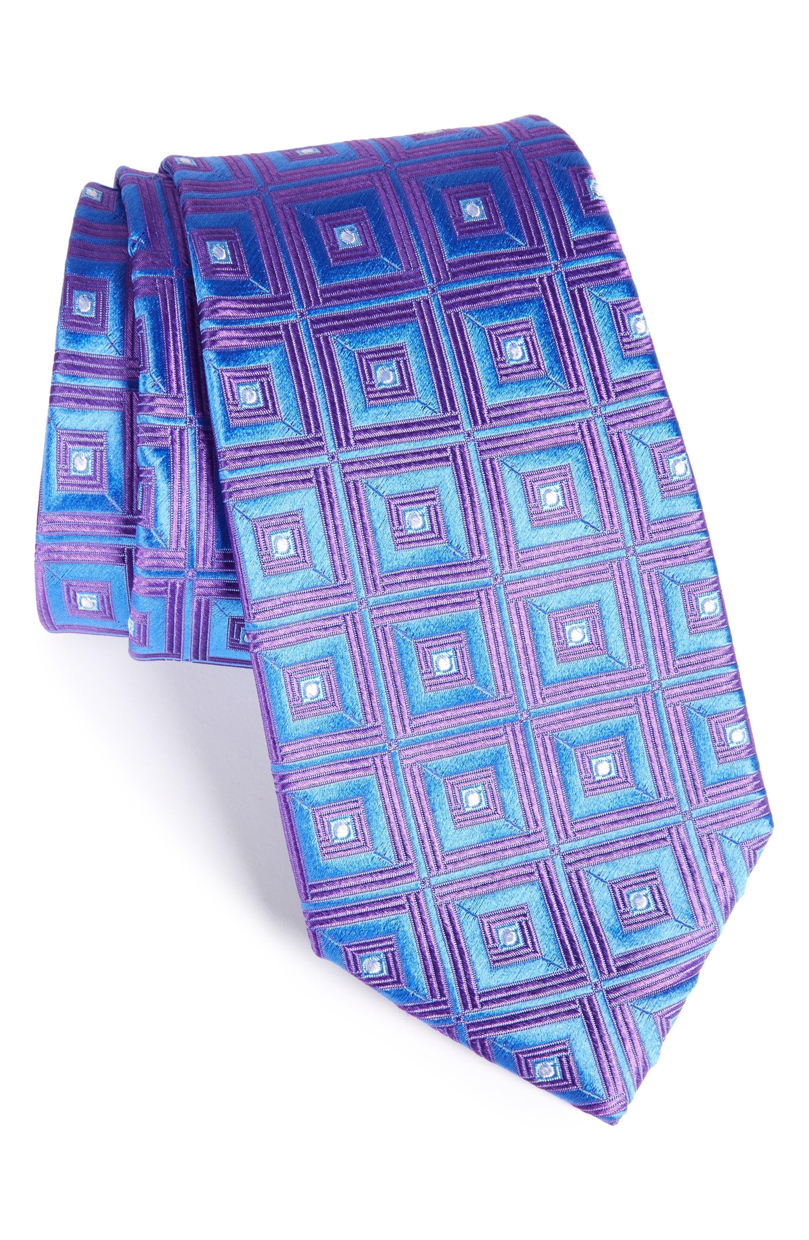 Frame Diamonds Silk Tie,                         Main,                         color, Grape