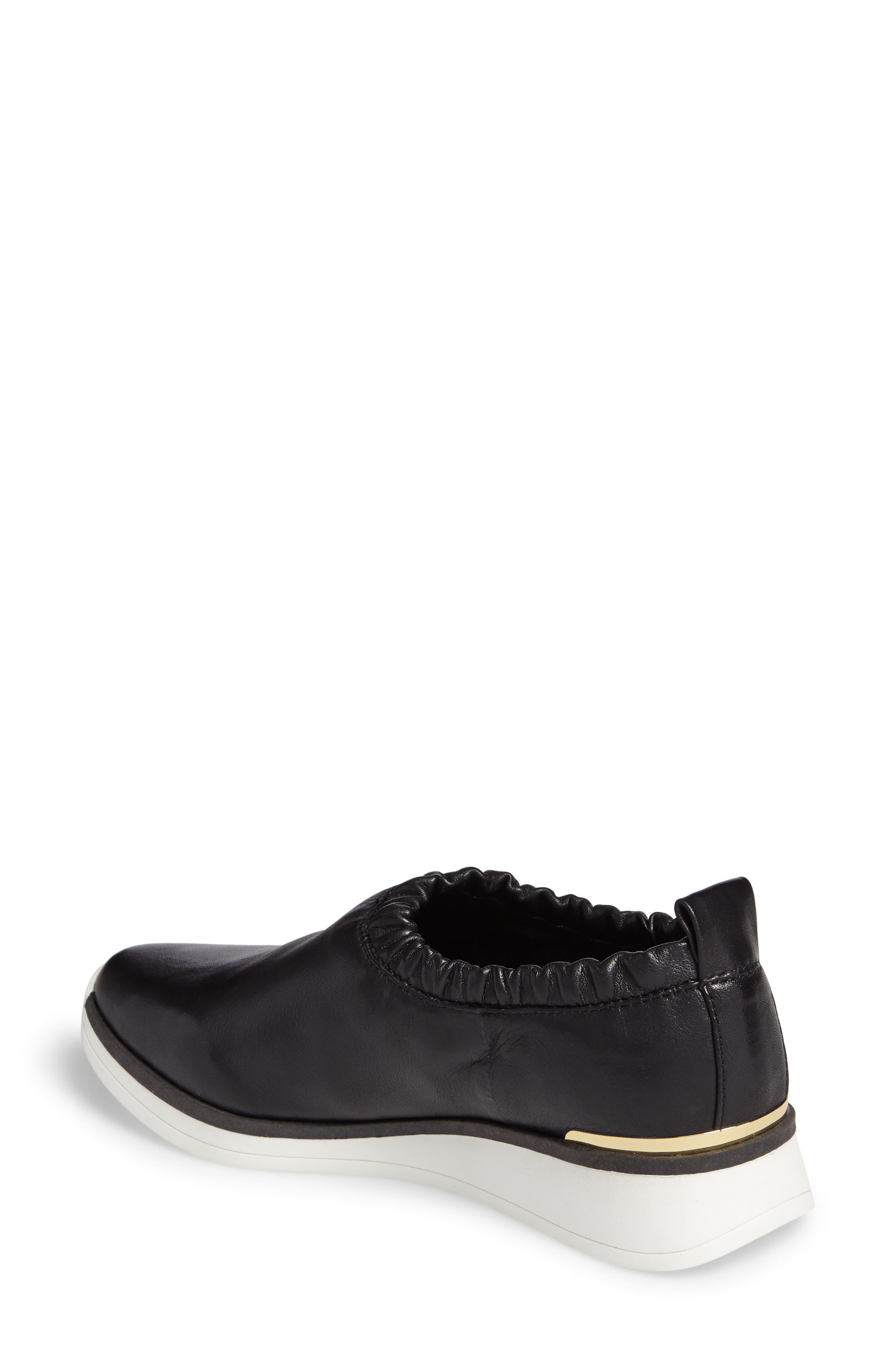 Brogen Slip-On Sneaker,                             Alternate thumbnail 2, color,                             Black Leather