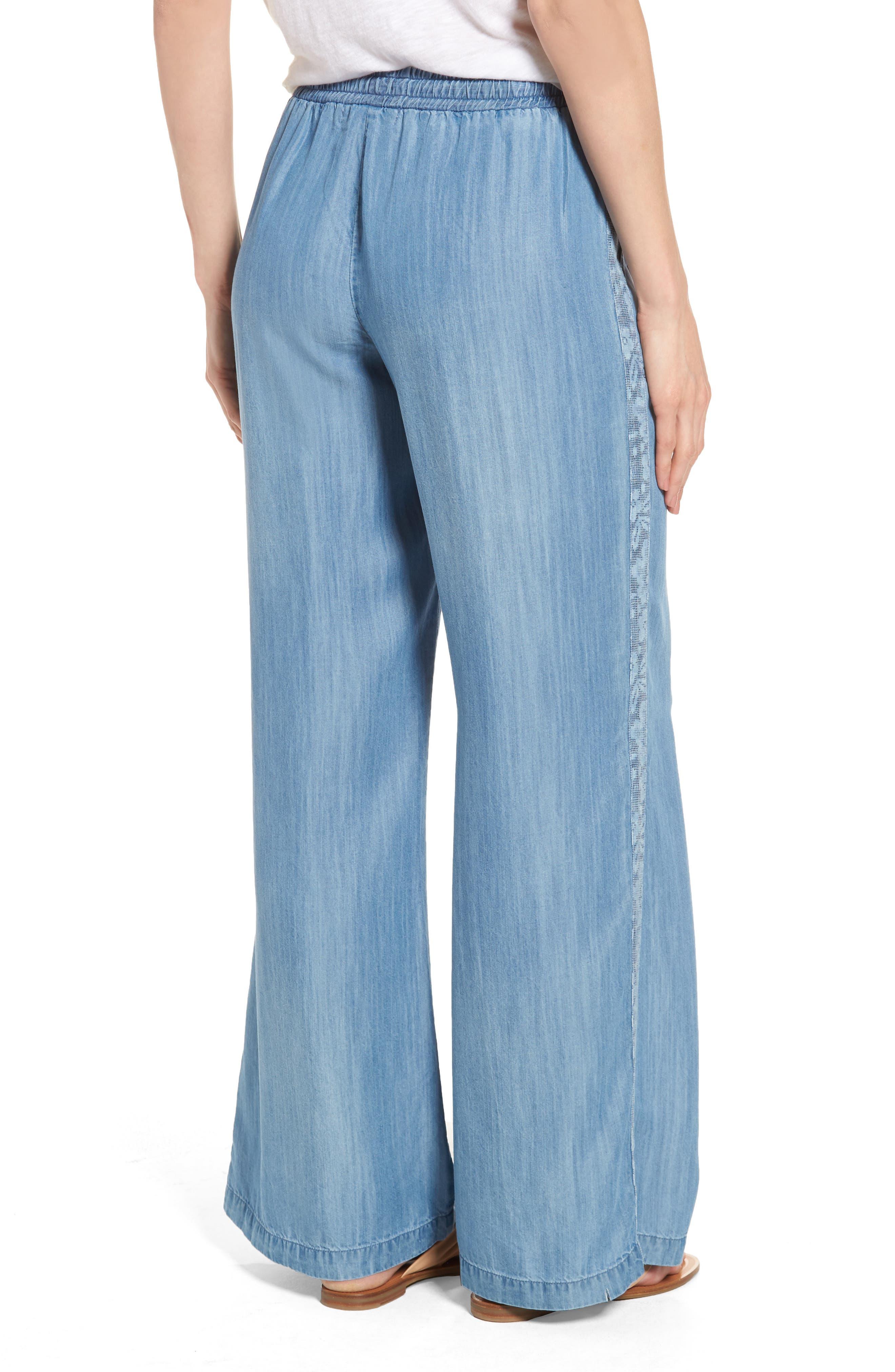 Drawstring Wide Leg Pants,                             Alternate thumbnail 2, color,                             Medium Blue