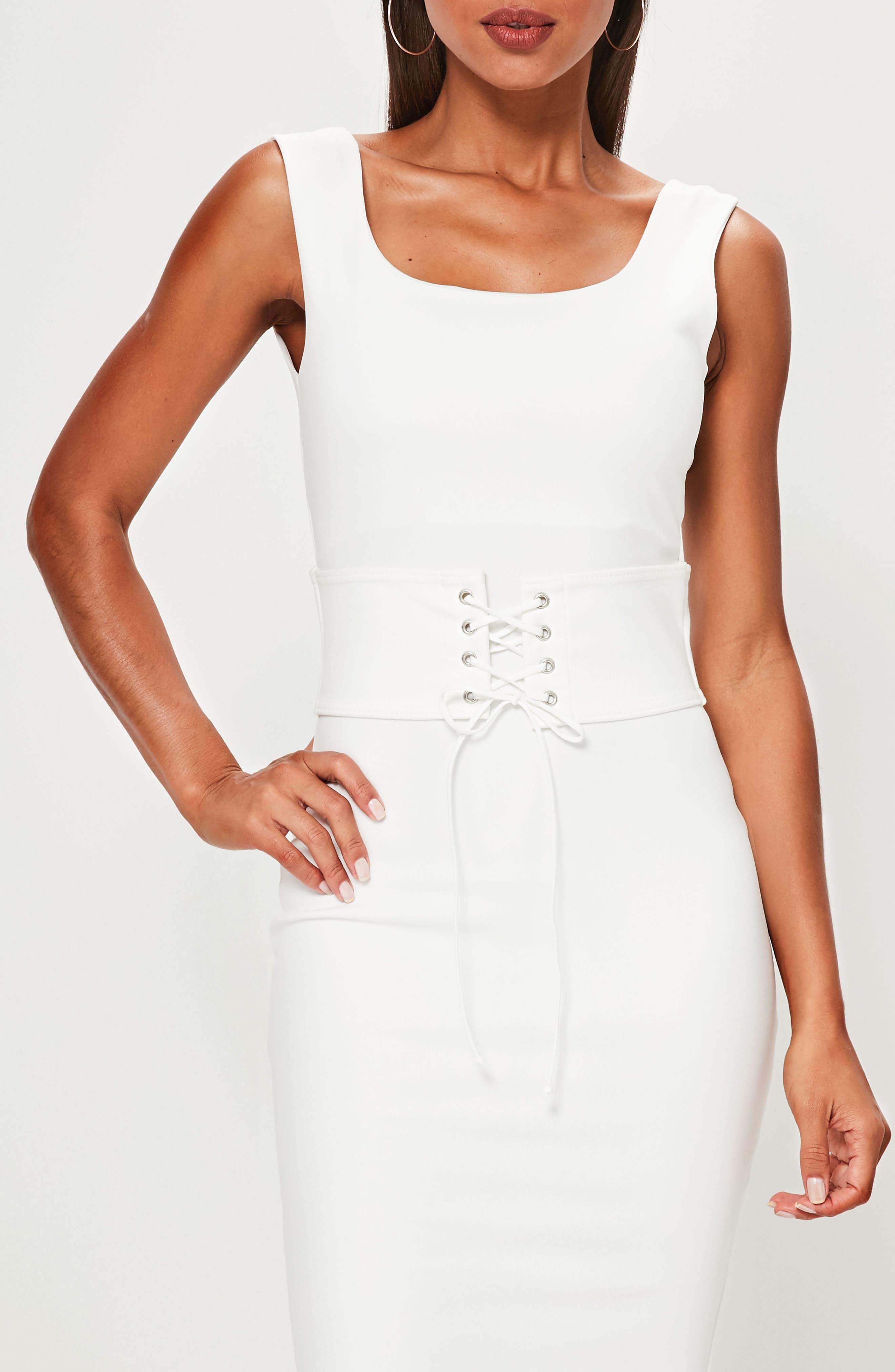 Corset Belt Body-Con Dress,                             Alternate thumbnail 3, color,                             Cream