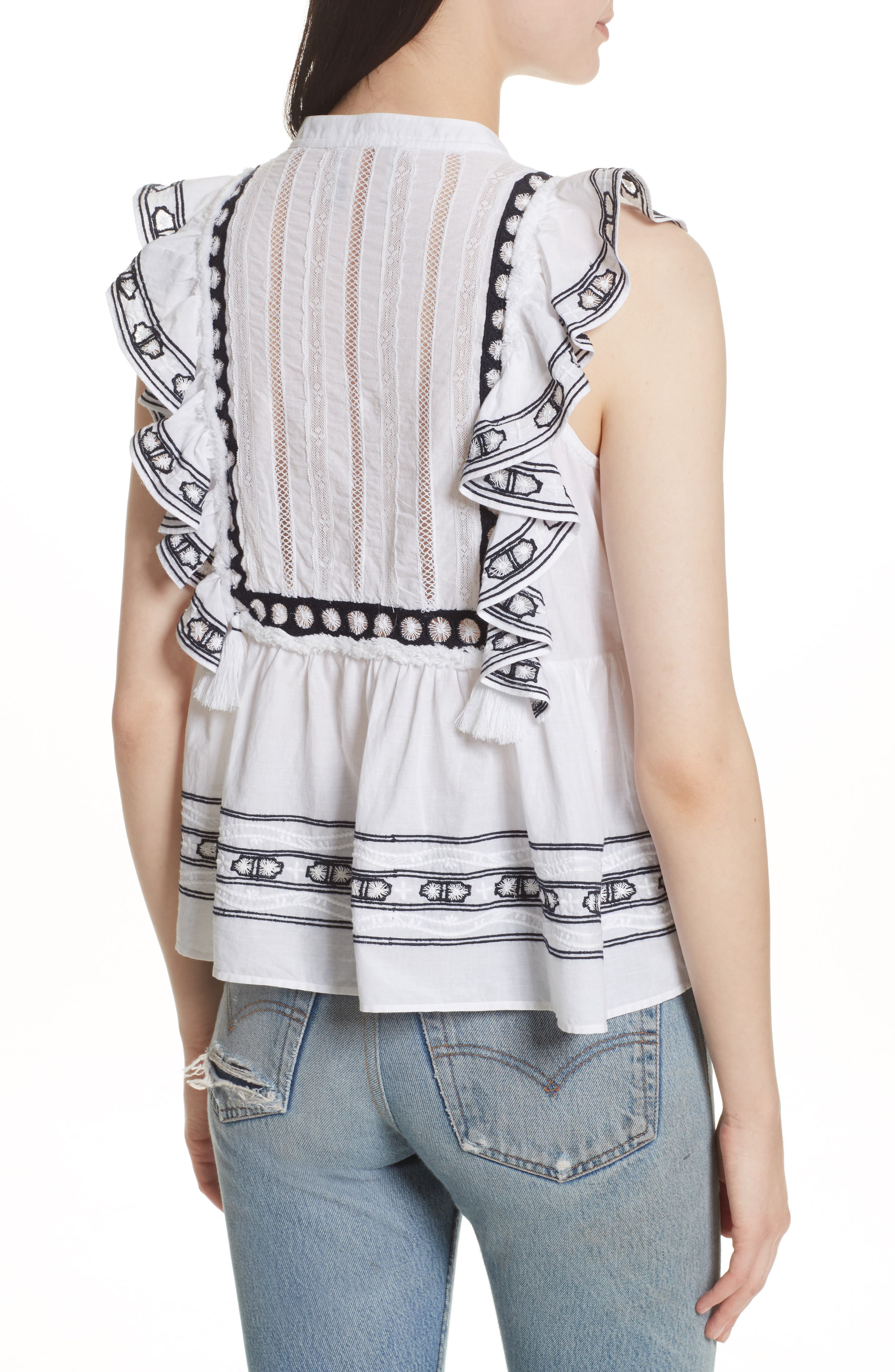 Lace Bib Ruffle Tank,                             Alternate thumbnail 2, color,                             White/ Navy Emb