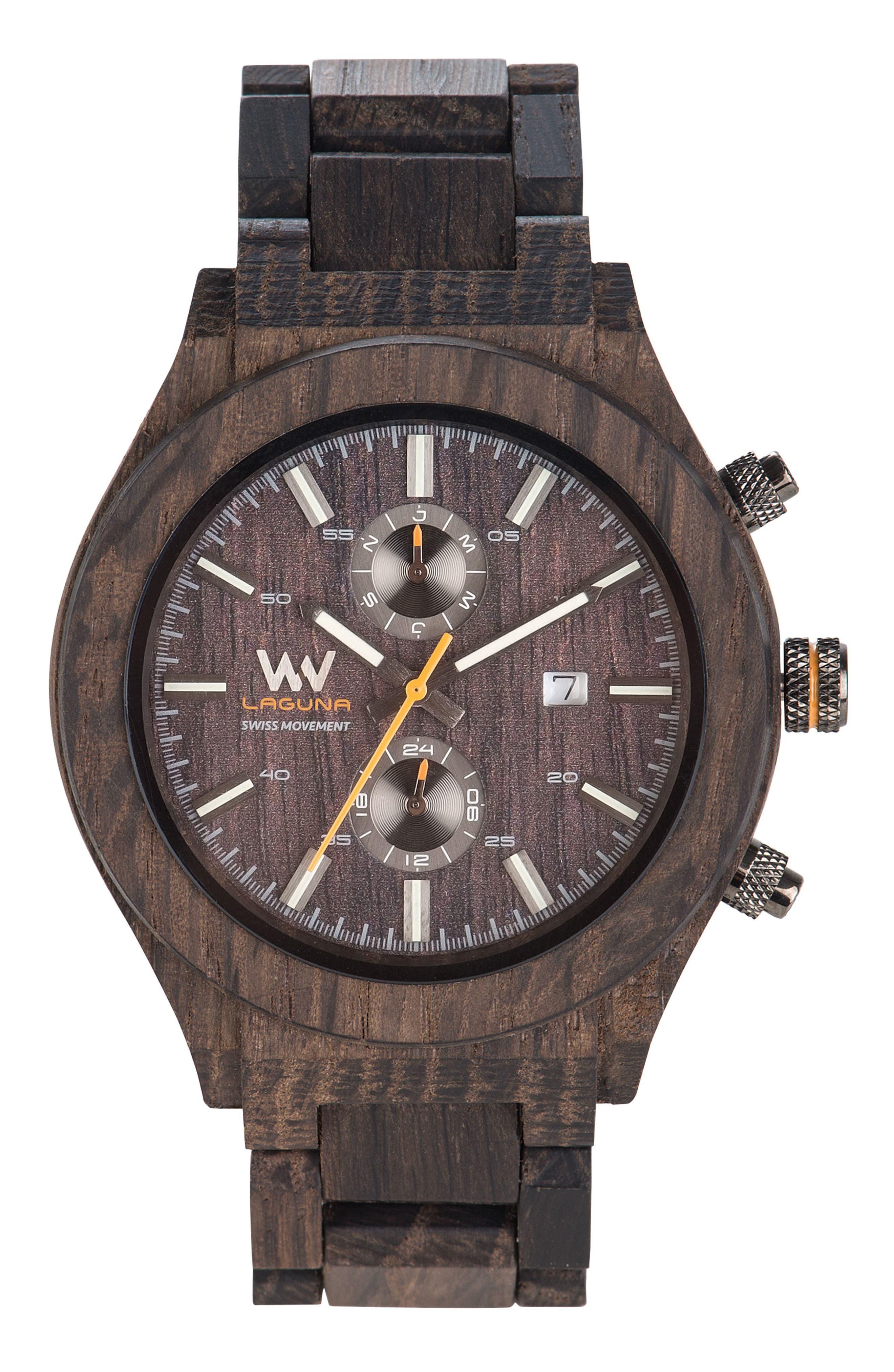 WEWOOD Laguna Multifunctional Wood Bracelet Watch, 46.5mm