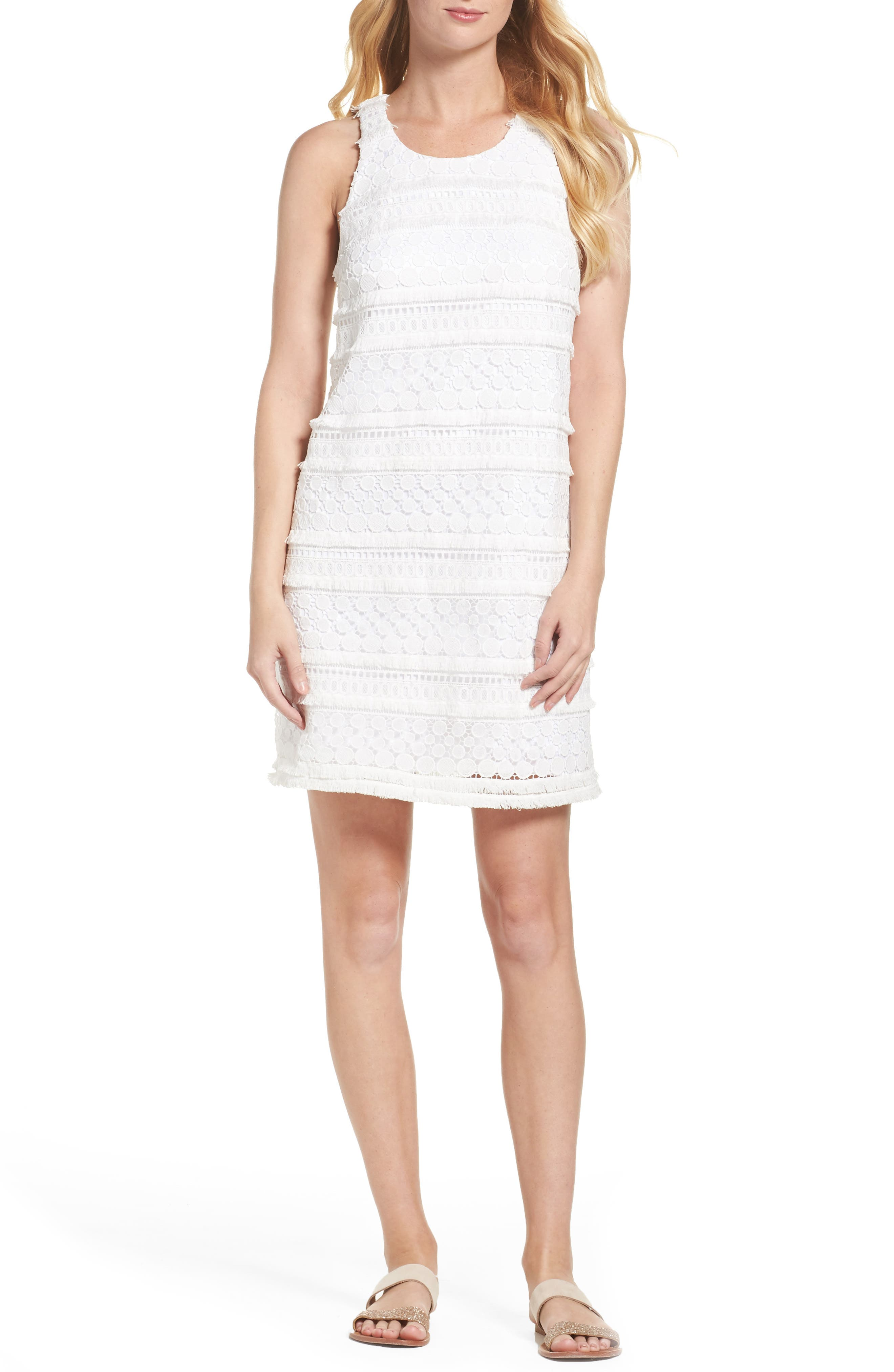 Anette Lace Shift Dress,                         Main,                         color, Resort White Bubble