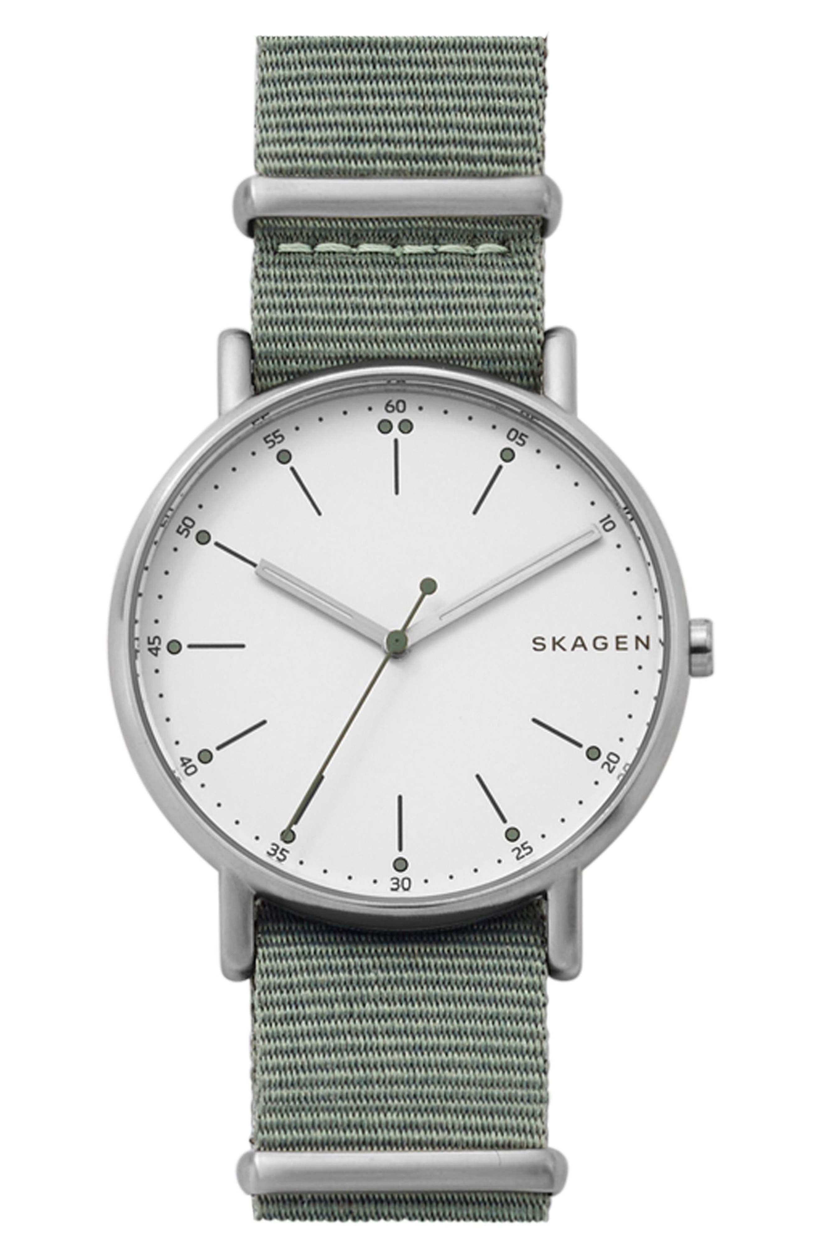 Signatur Nylon Strap Watch, 40mm,                             Main thumbnail 1, color,                             Green/ White/ Silver