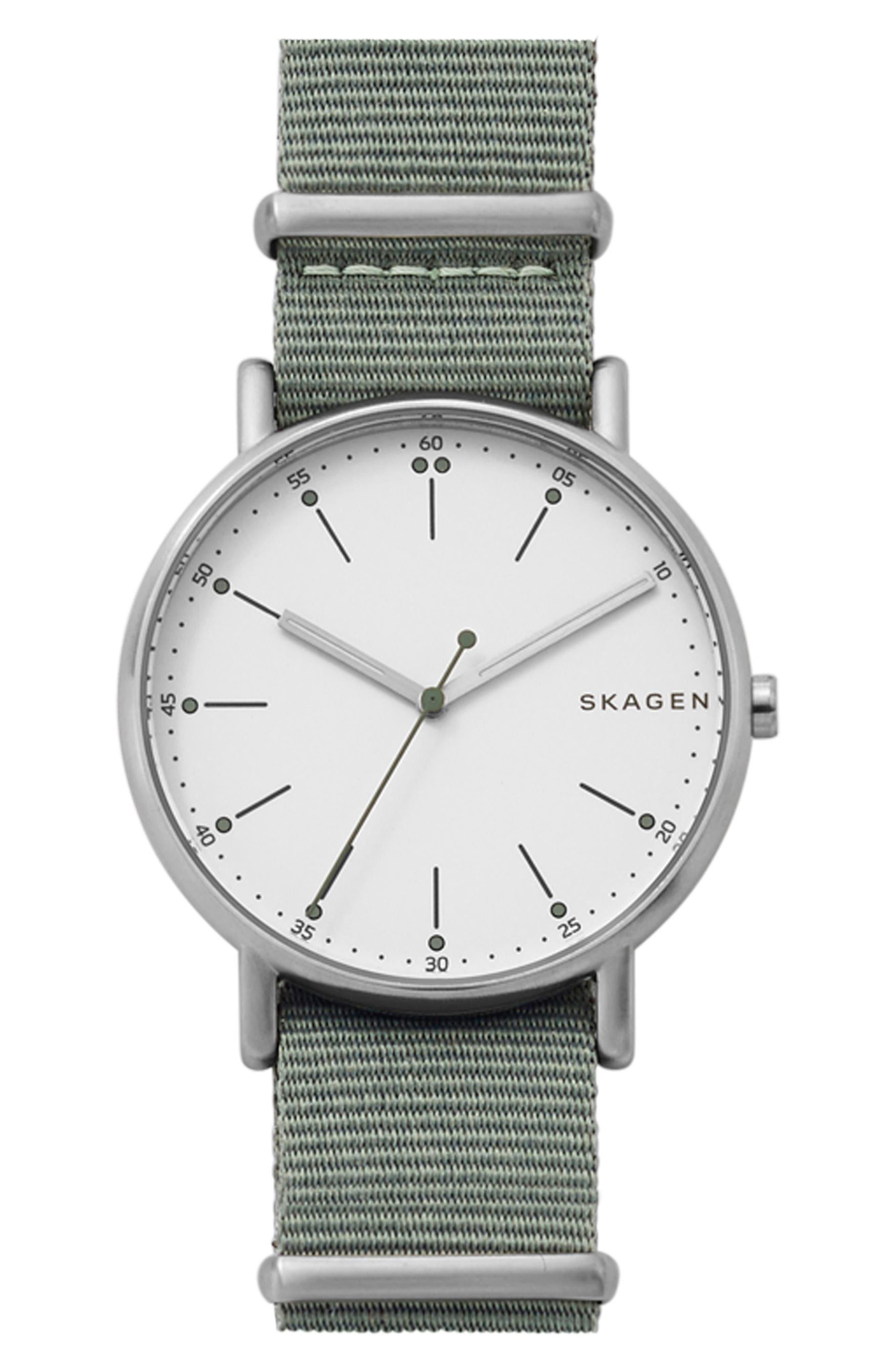Signatur Nylon Strap Watch, 40mm,                         Main,                         color, Green/ White/ Silver