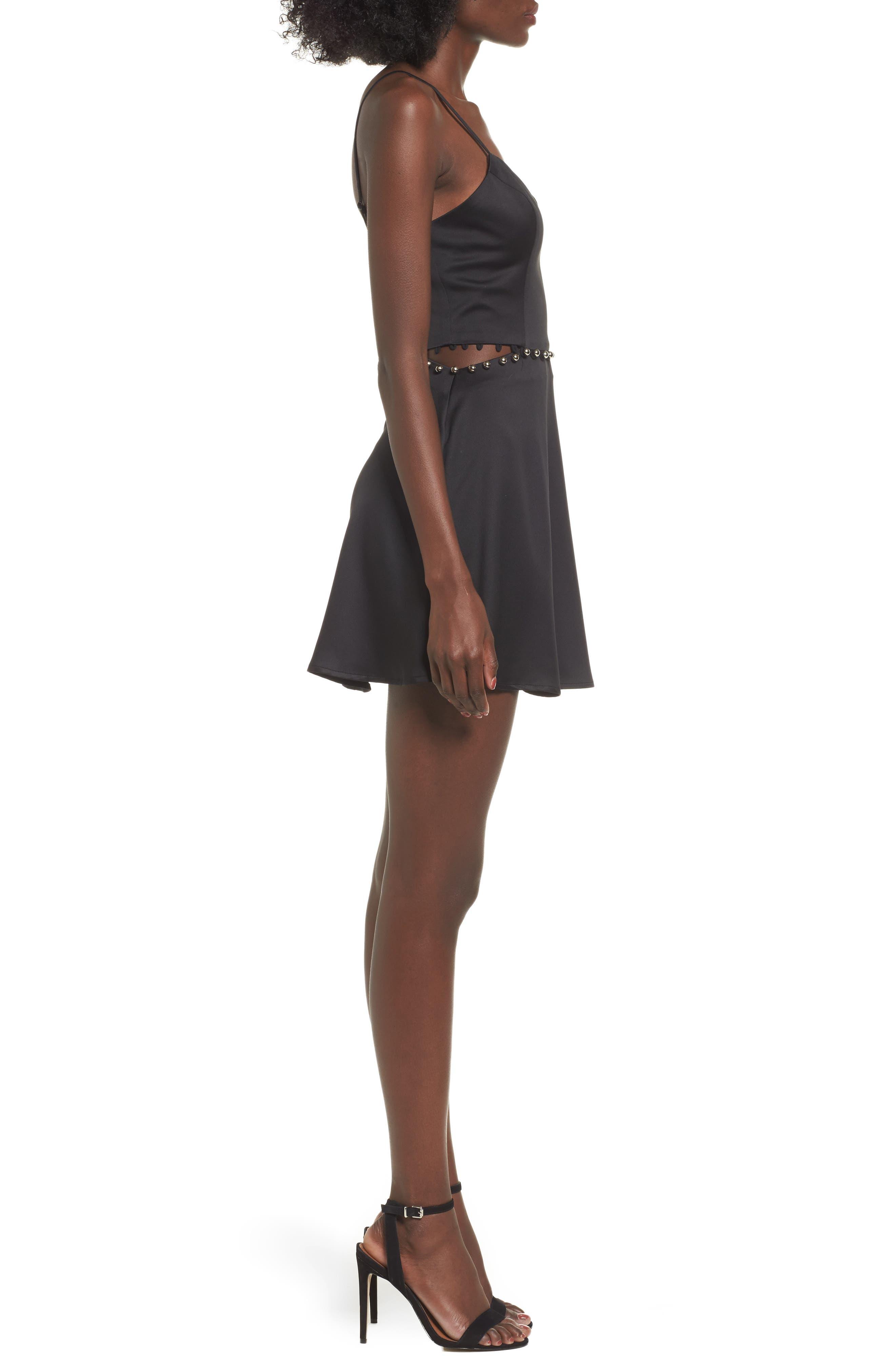 Brandi Fit & Flare Dress,                             Alternate thumbnail 3, color,                             Black