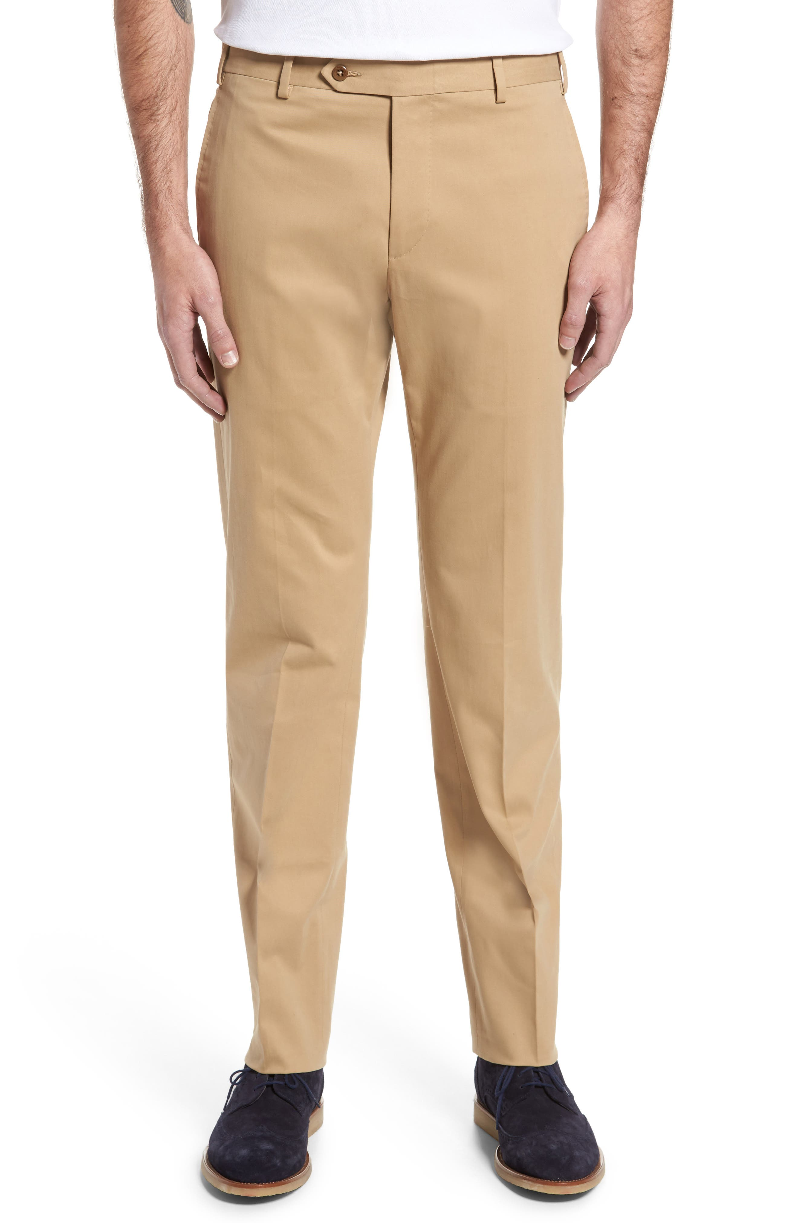 Zanella Parker Flat Front Solid Stretch Cotton Trousers