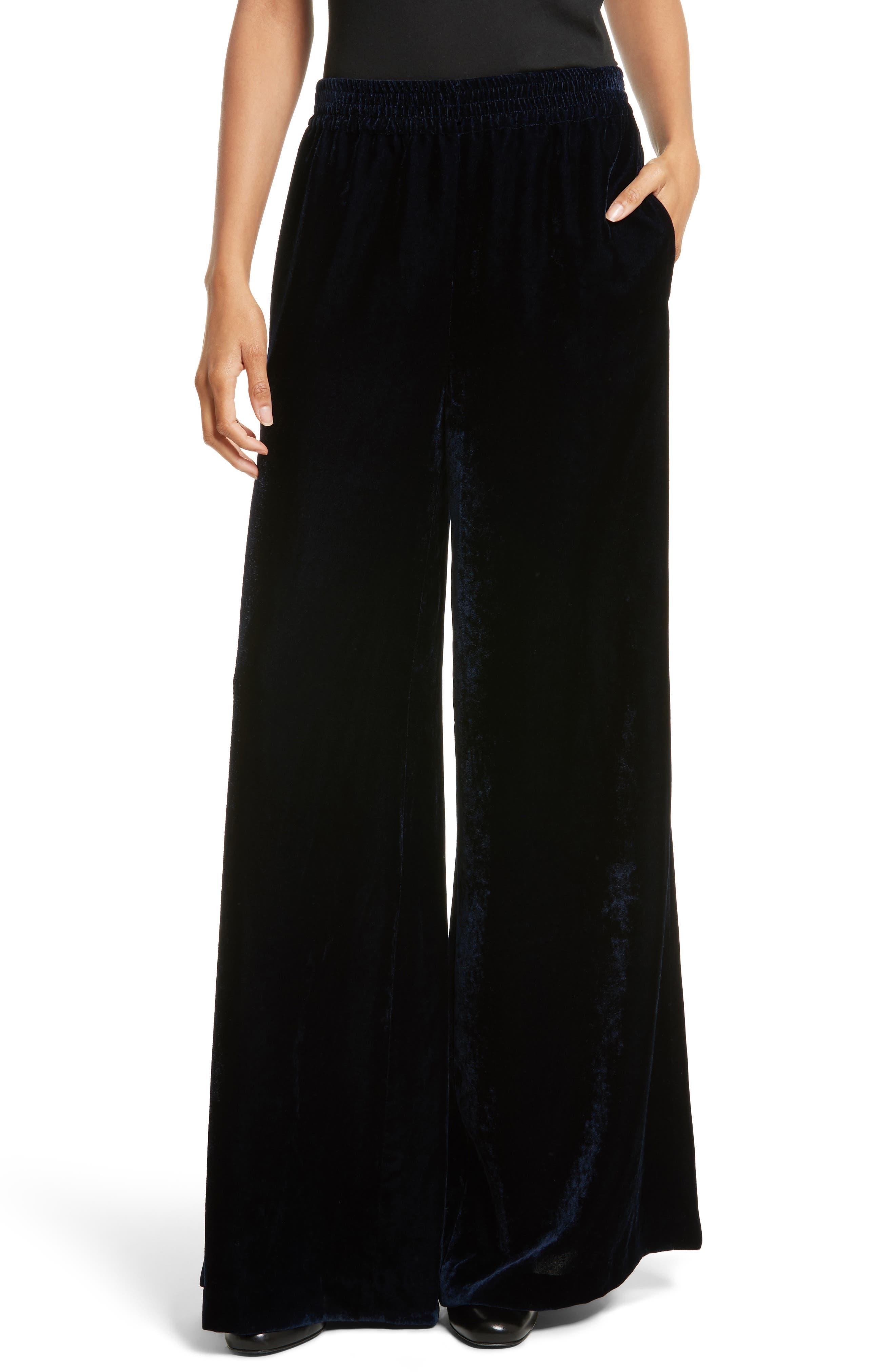 Harlow Sandwashed Velvet Pants,                         Main,                         color, Dark Navy