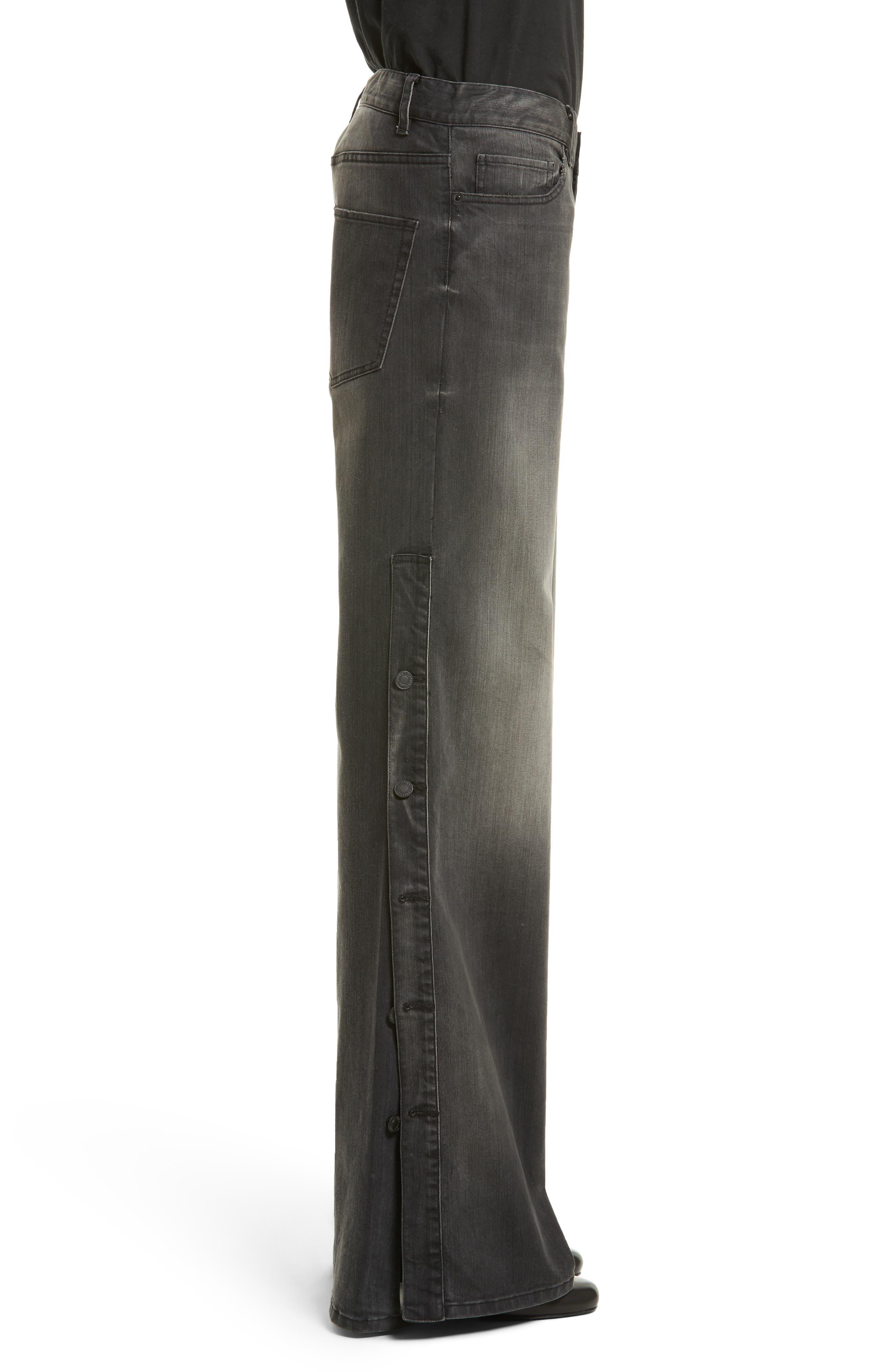 Alternate Image 3  - Nili Lotan Ena Side Button Detail Wide Leg Jeans