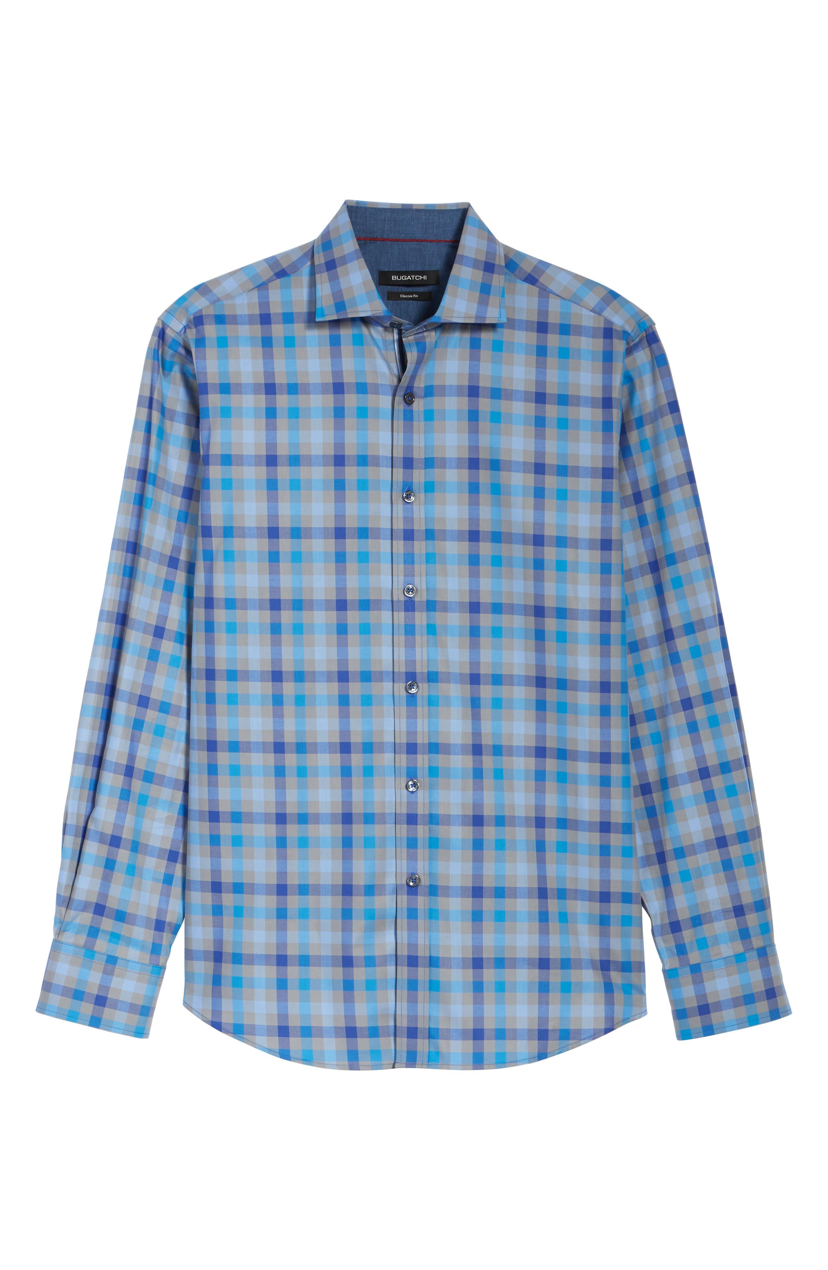 Classic Fit Check Sport Shirt,                             Alternate thumbnail 6, color,                             Platinum