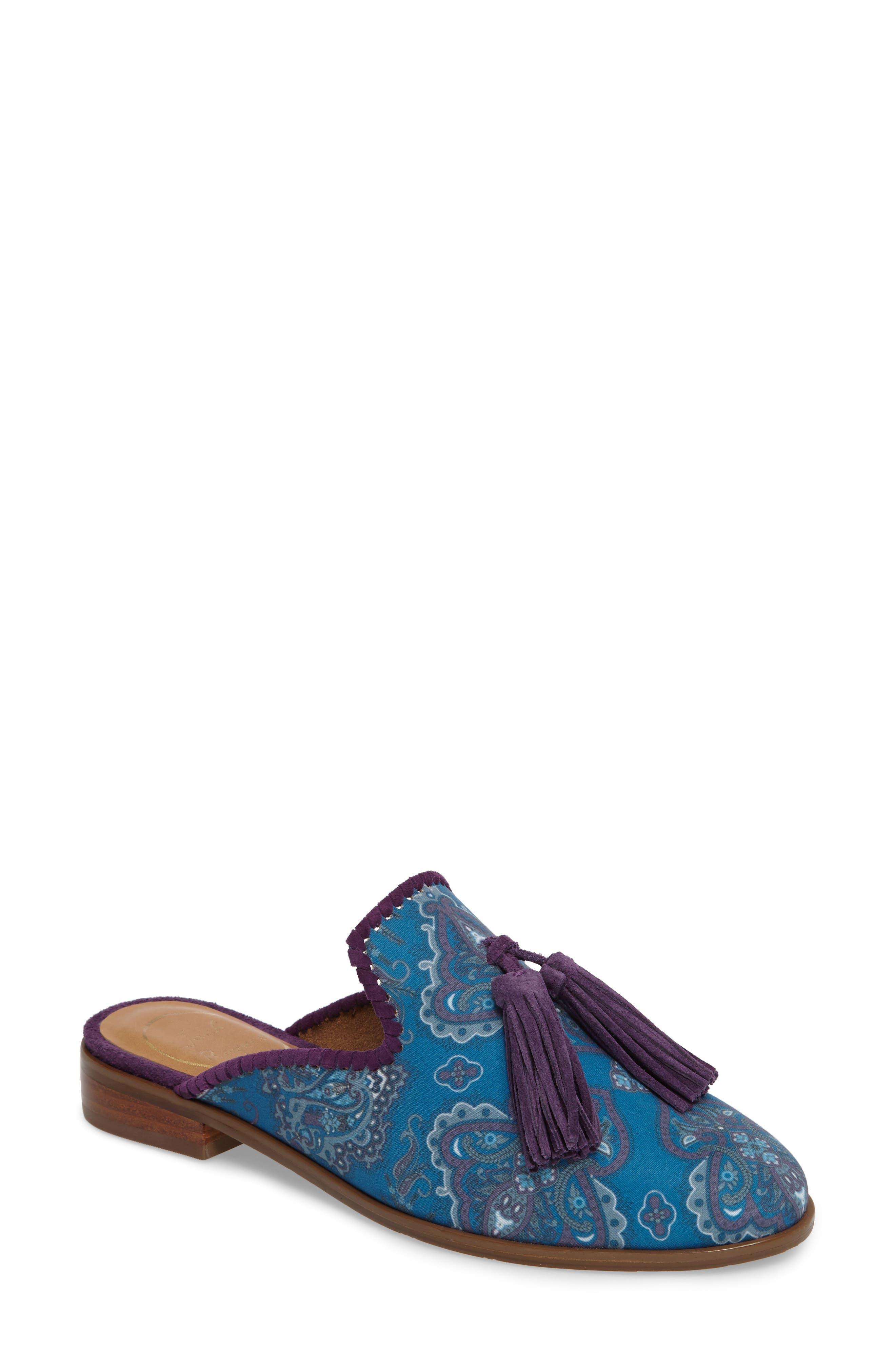 Delaney Tassel Mule,                         Main,                         color, Blue Paisley Fabric