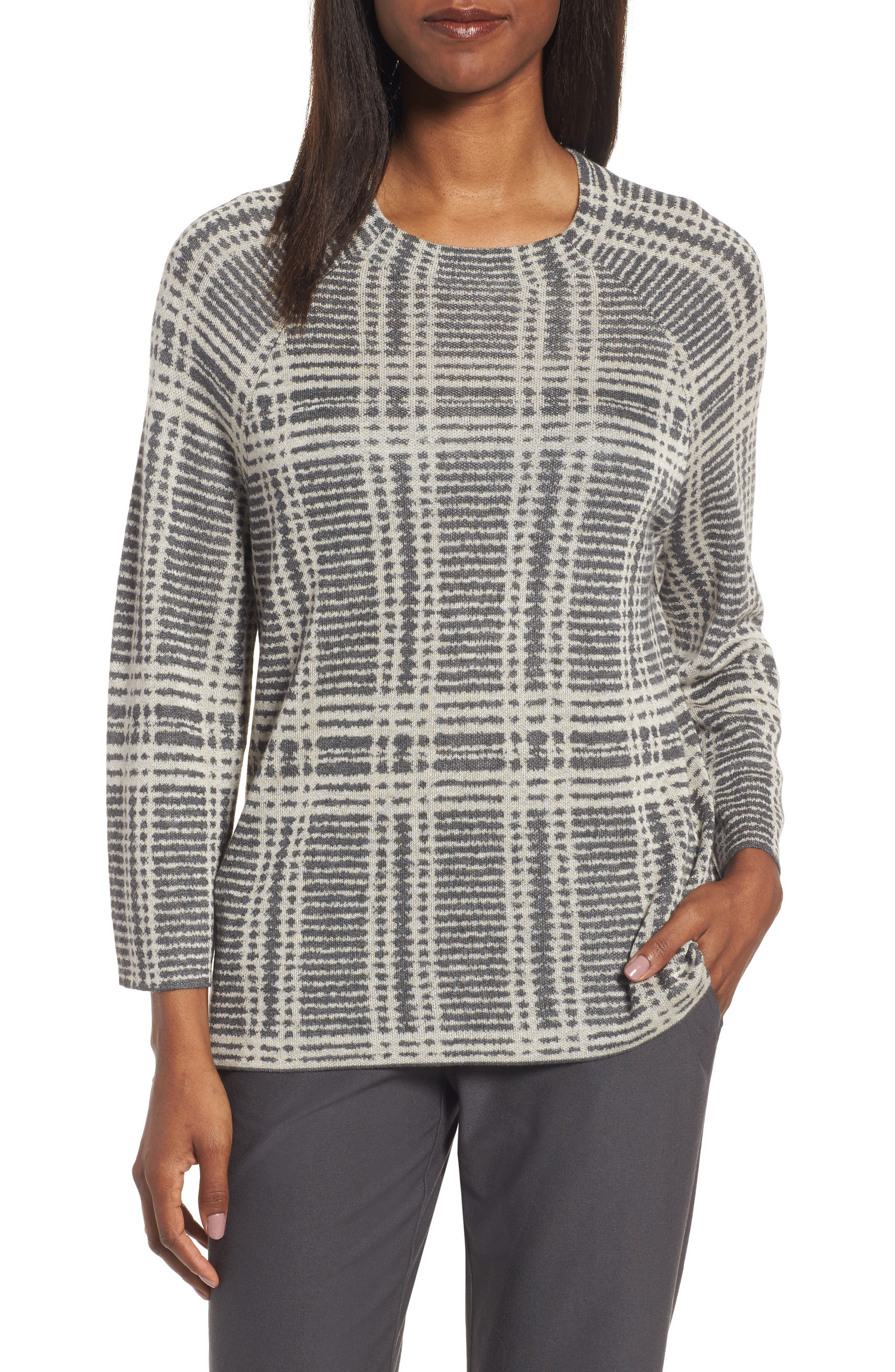 Alternate Image 1 Selected - Eileen Fisher Plaid Tencel® & Wool Boxy Sweater
