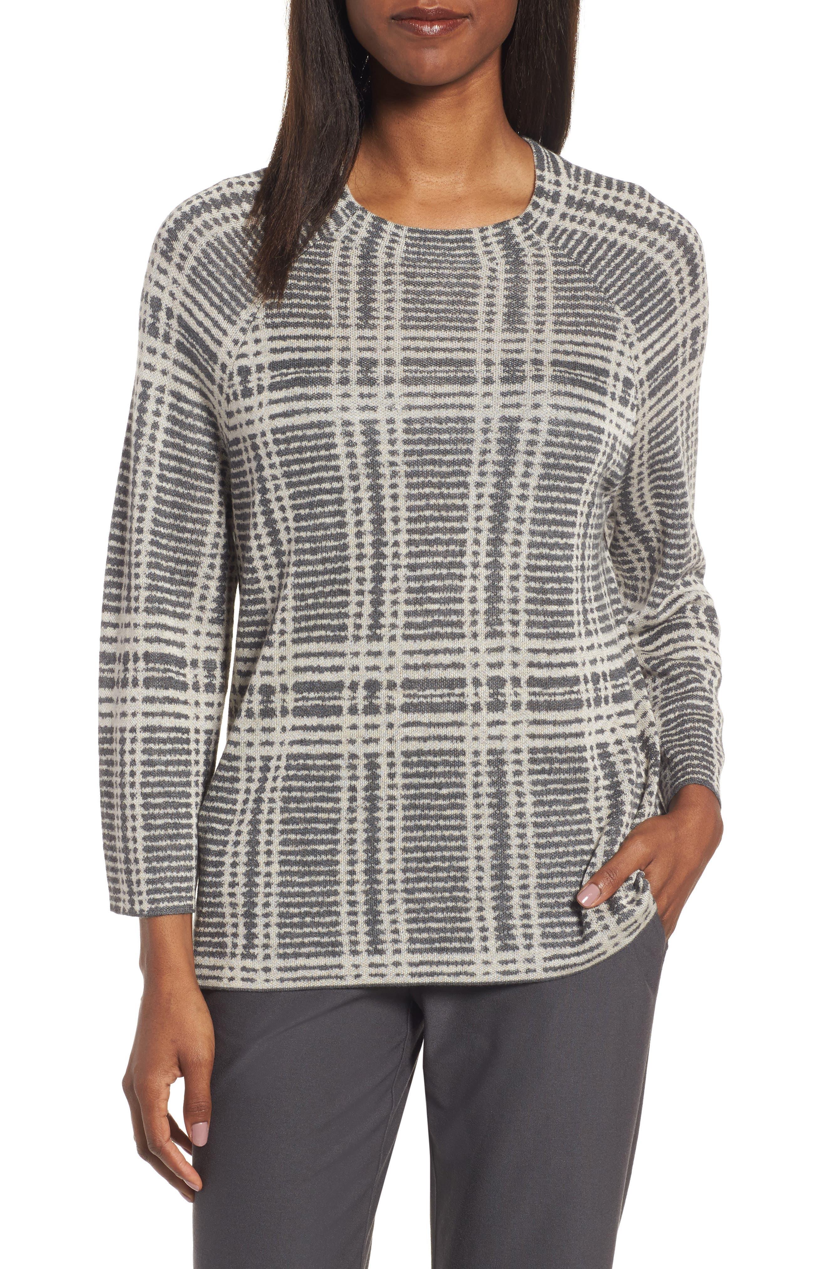 Main Image - Eileen Fisher Plaid Tencel® & Wool Boxy Sweater
