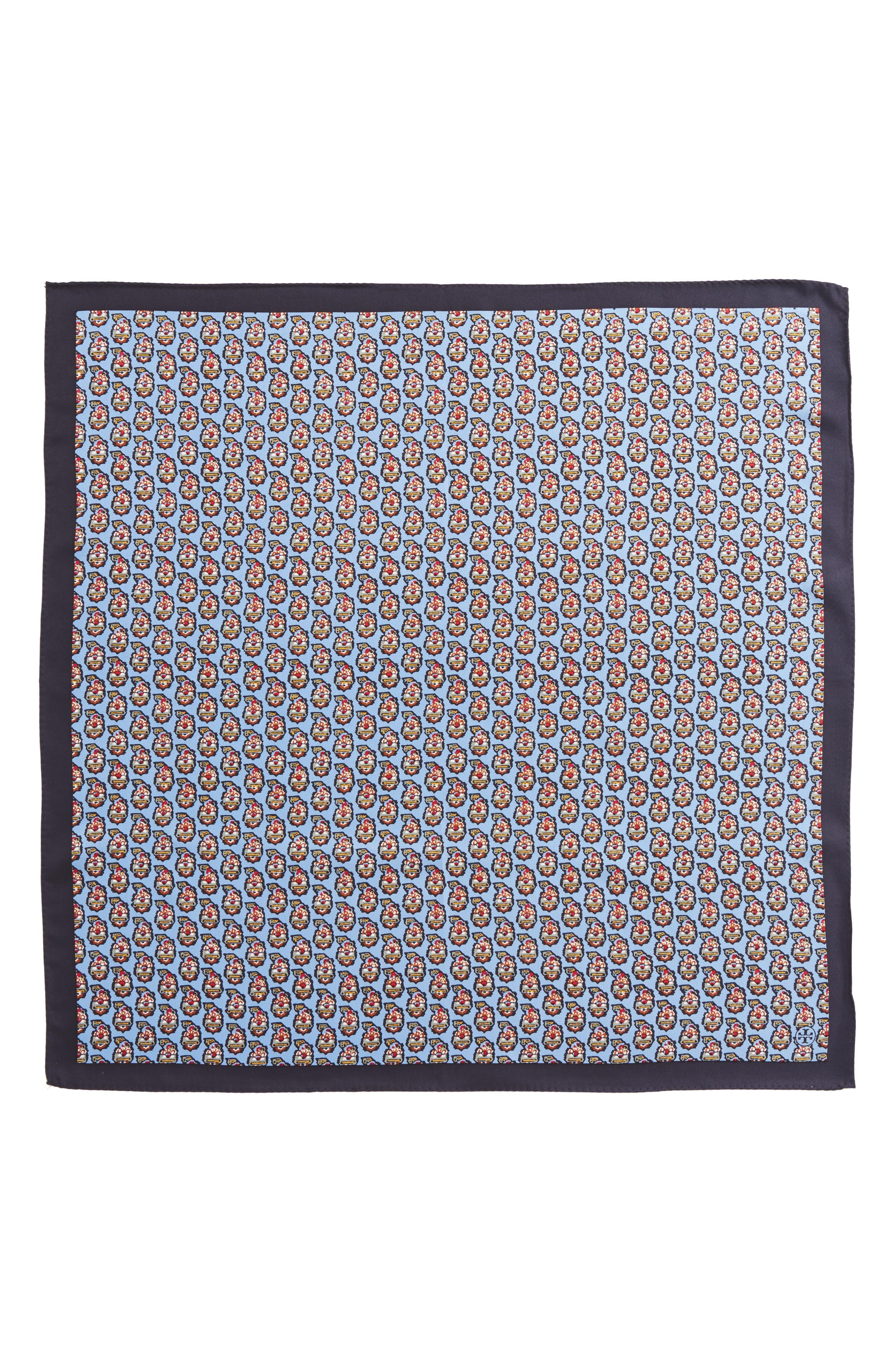 Paisley Silk Scarf,                             Alternate thumbnail 2, color,                             Himalaya Blue
