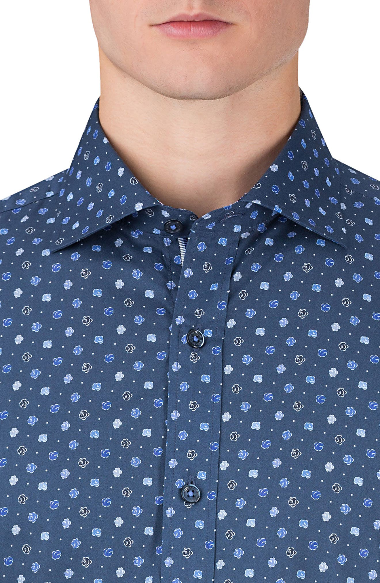 Shaped Fit Flower Print Sport Shirt,                             Alternate thumbnail 4, color,                             Navy