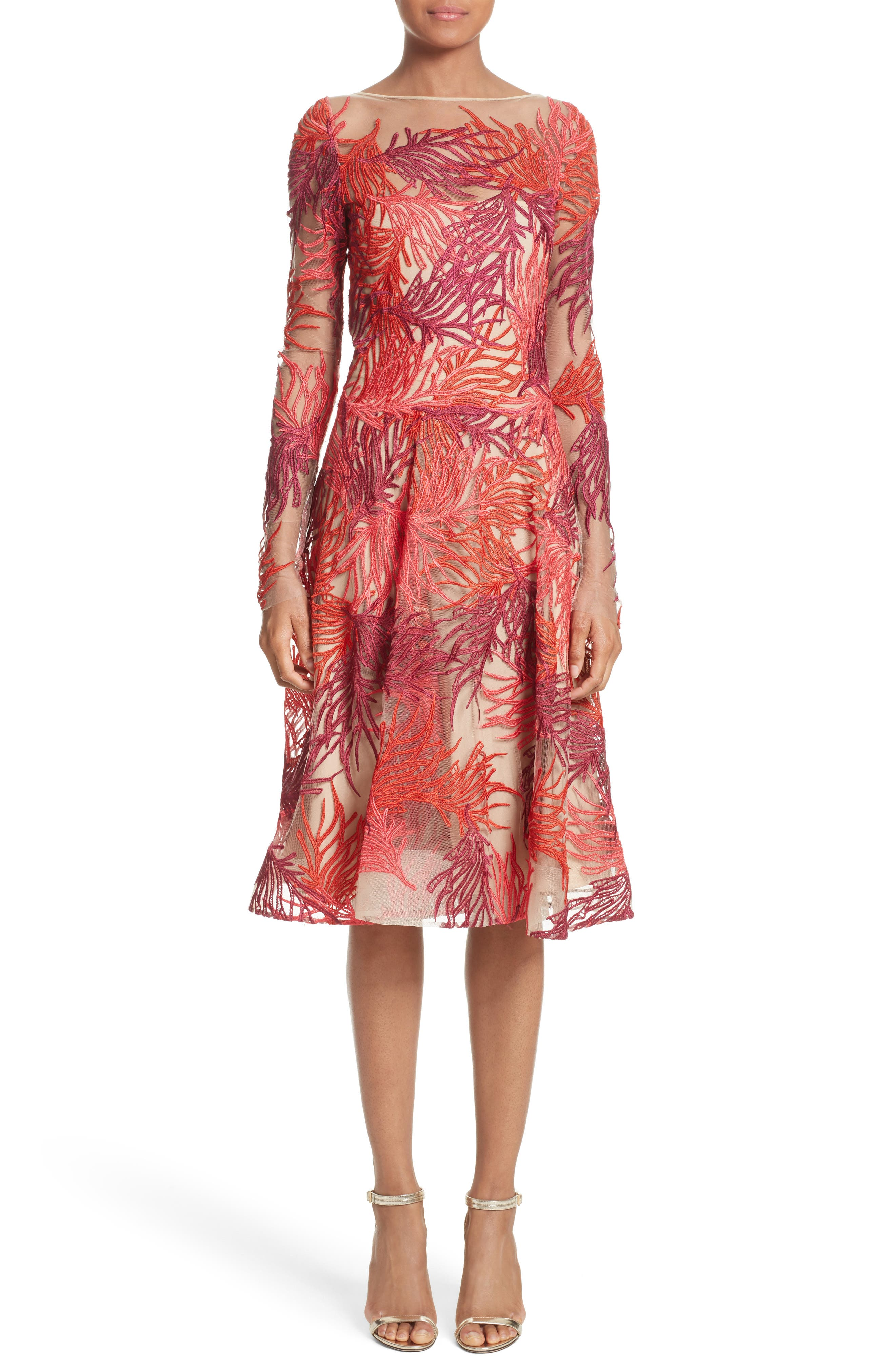 Naeem Khan Threadwork Embroidered Long Sleeve Dress