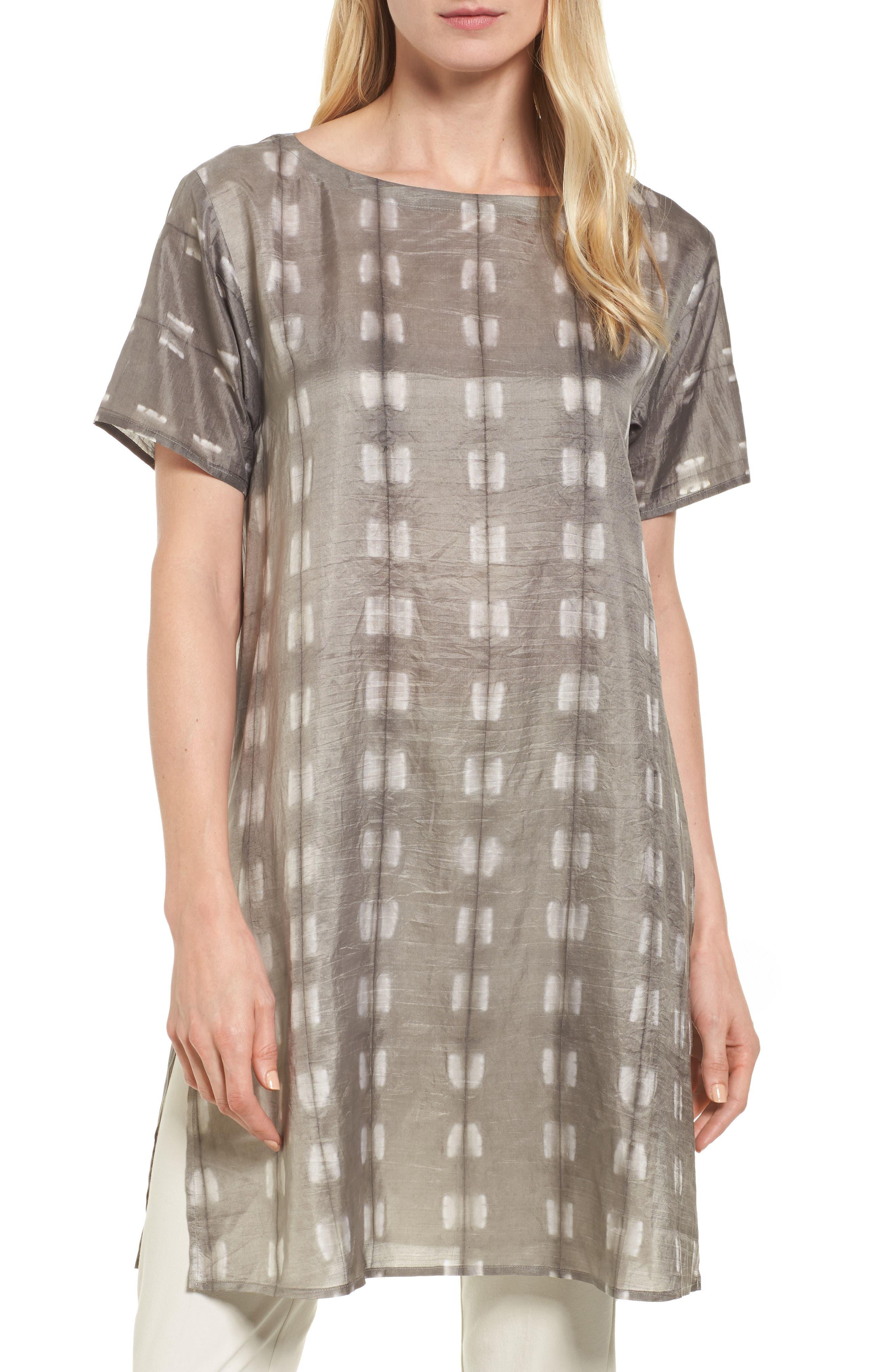 Alternate Image 1 Selected - Eileen Fisher Bateau Neck Silk Tunic