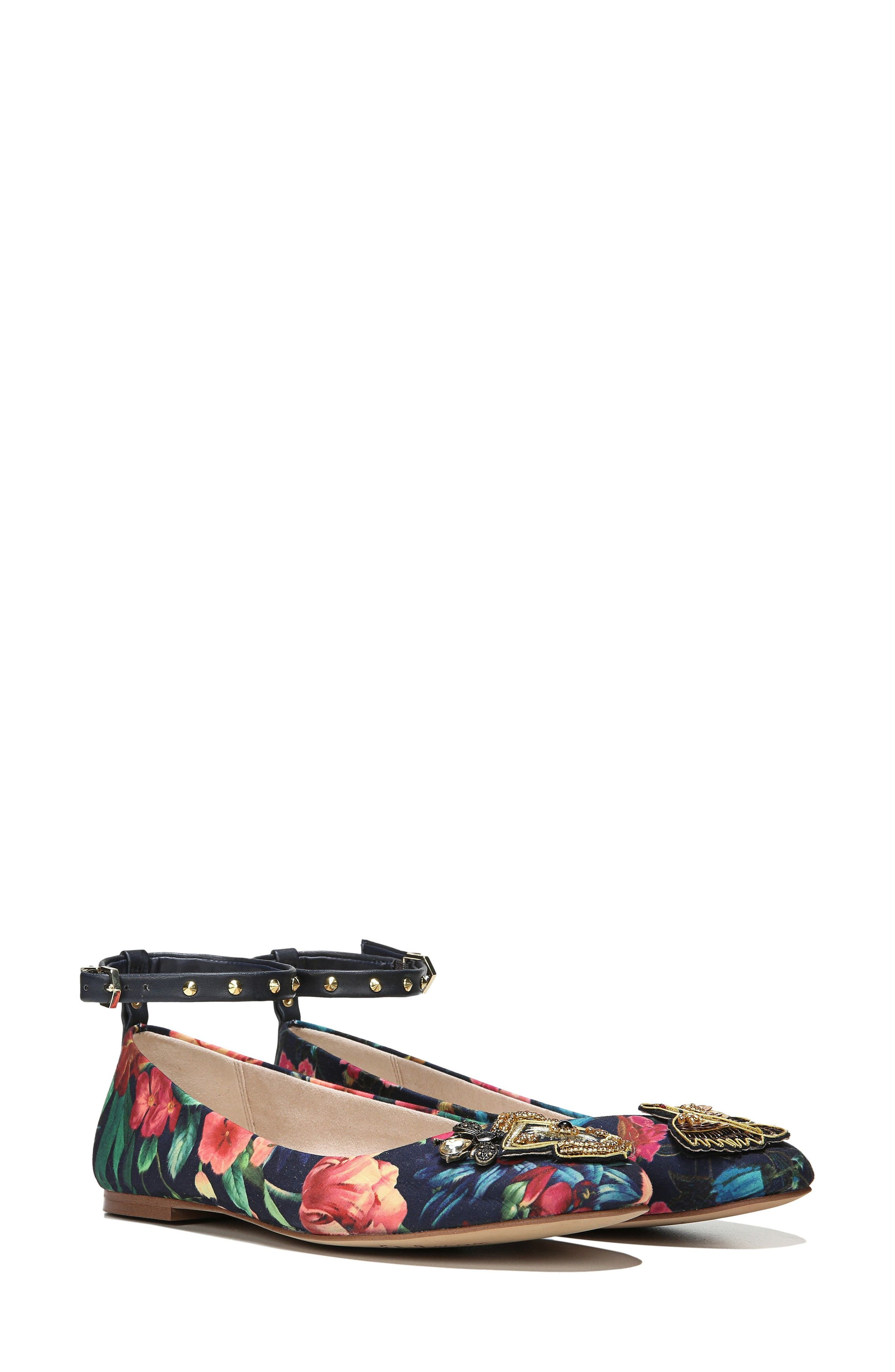 Ferrera Embellished Ankle Strap Flat,                             Alternate thumbnail 2, color,                             Navy Floral Fabric
