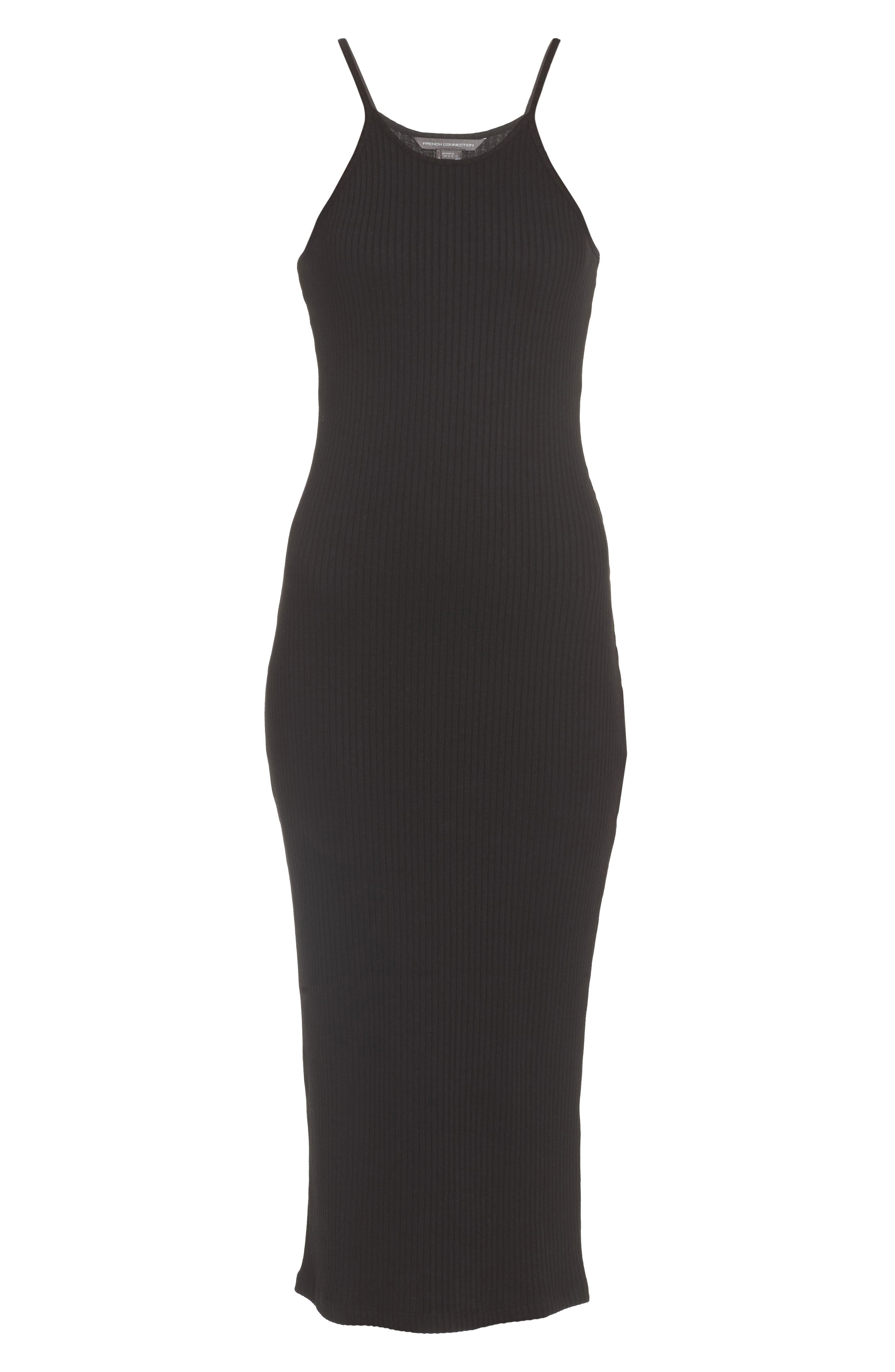 Tommy Body-Con Midi Dress,                             Alternate thumbnail 6, color,                             Black