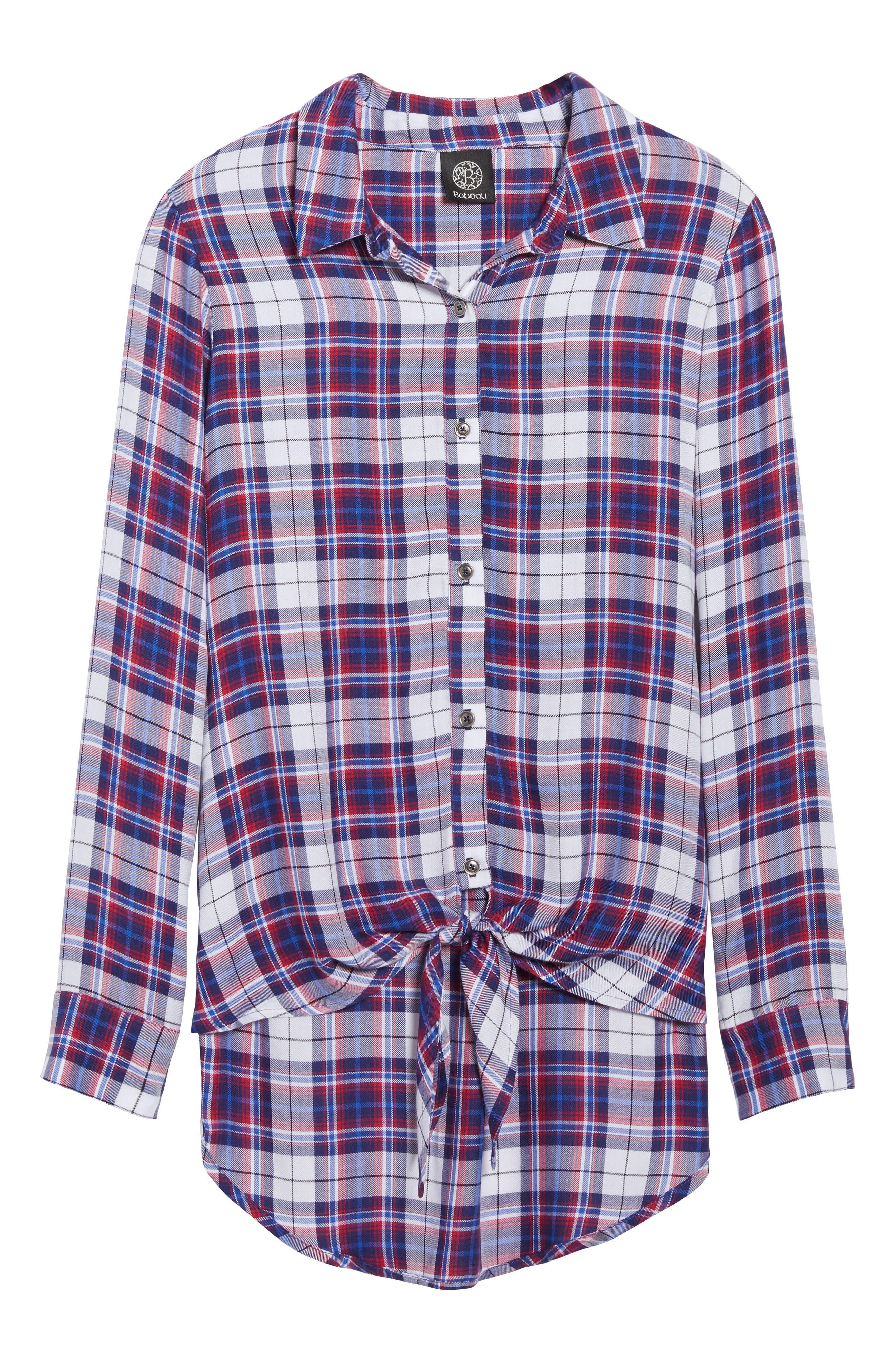 Tie Front Plaid Shirt,                             Alternate thumbnail 6, color,                             Burgundy/ Black Plaid