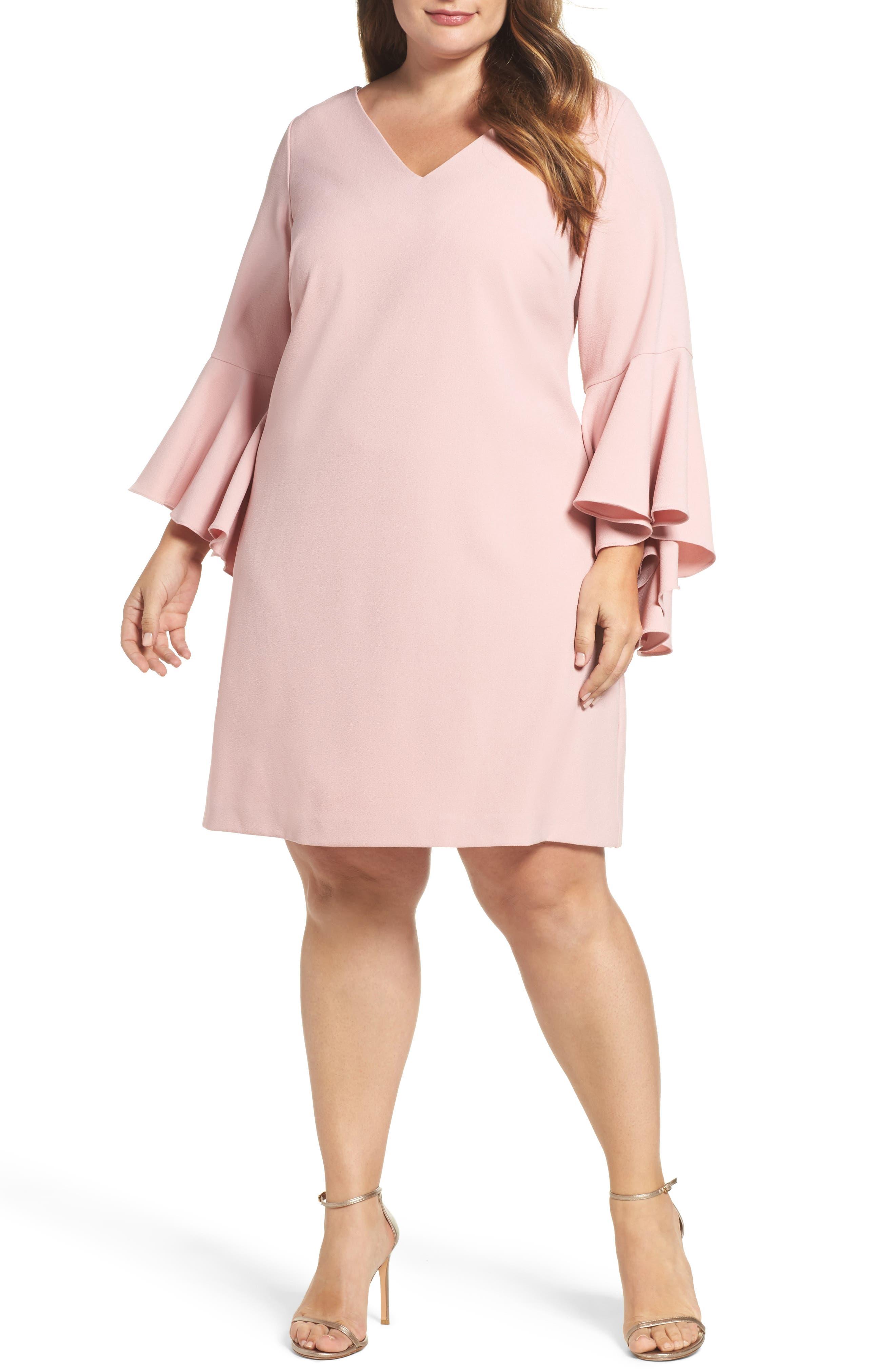 Bell Sleeve Crepe Shift Dress,                             Main thumbnail 1, color,                             Blush
