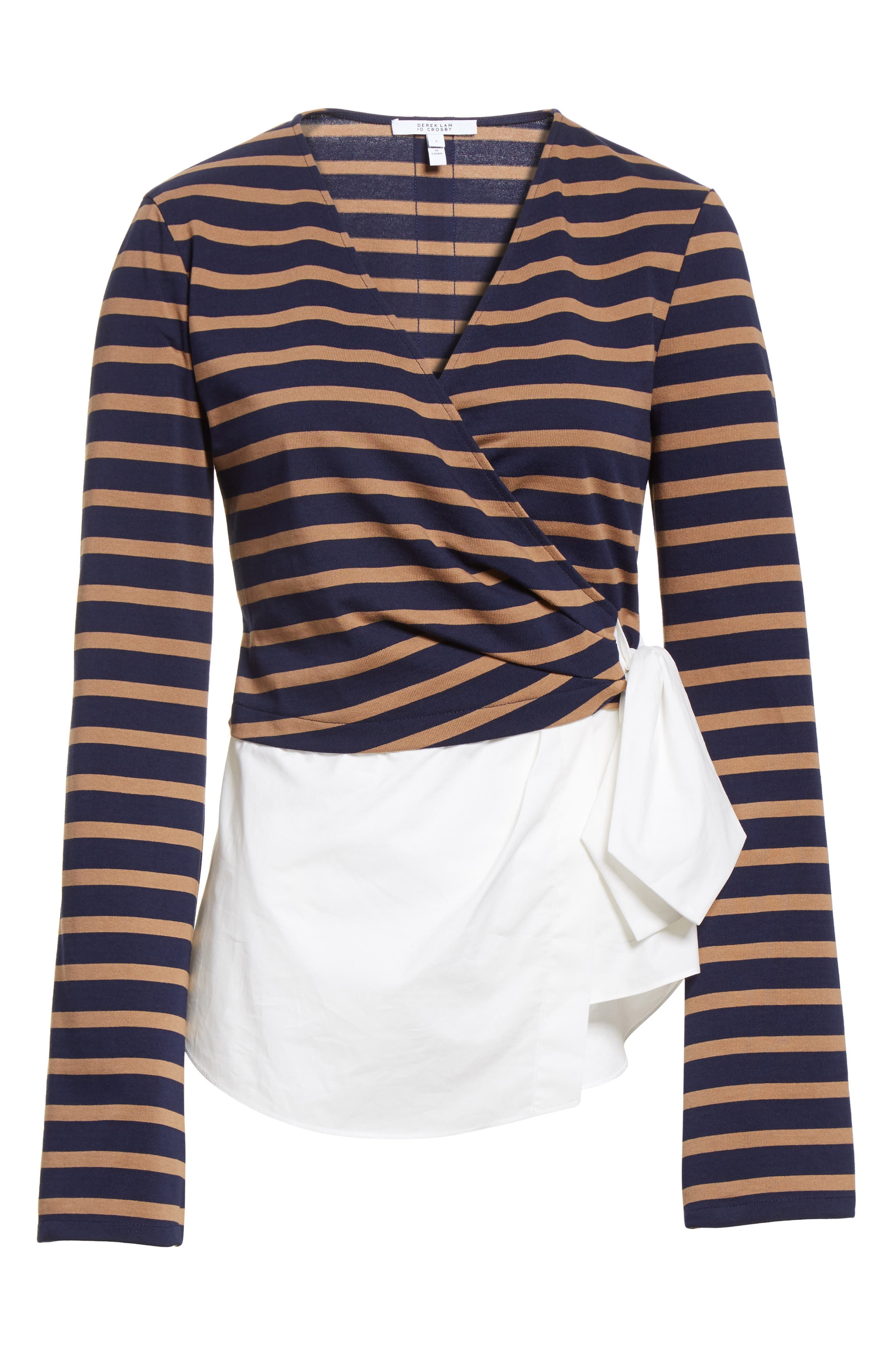 Stripe Wrap Top with Poplin Shirting Combo,                             Alternate thumbnail 6, color,                             Midnight/ Army
