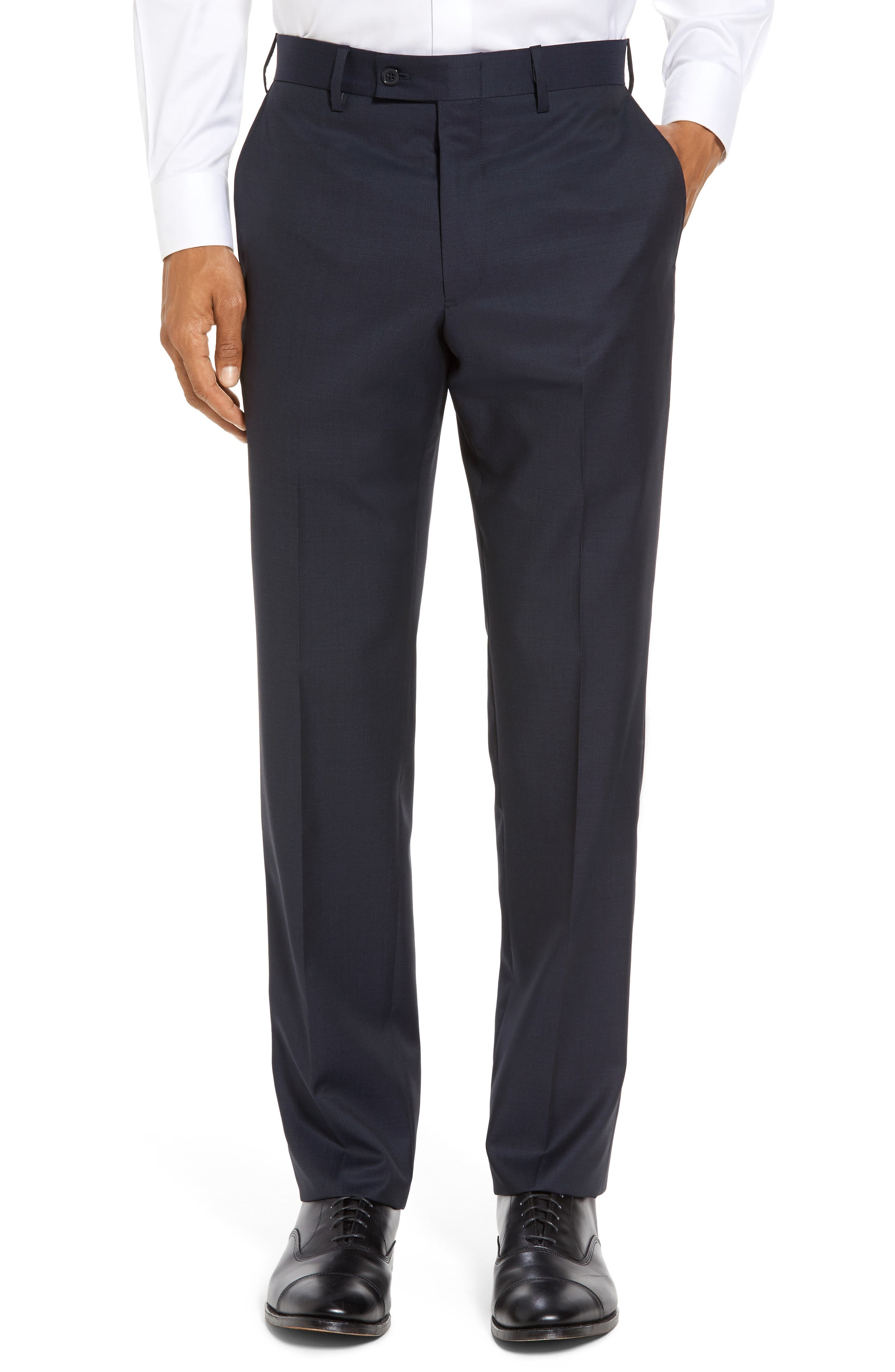 Alternate Image 1 Selected - JB Britches Flat Front Solid Wool Trousers
