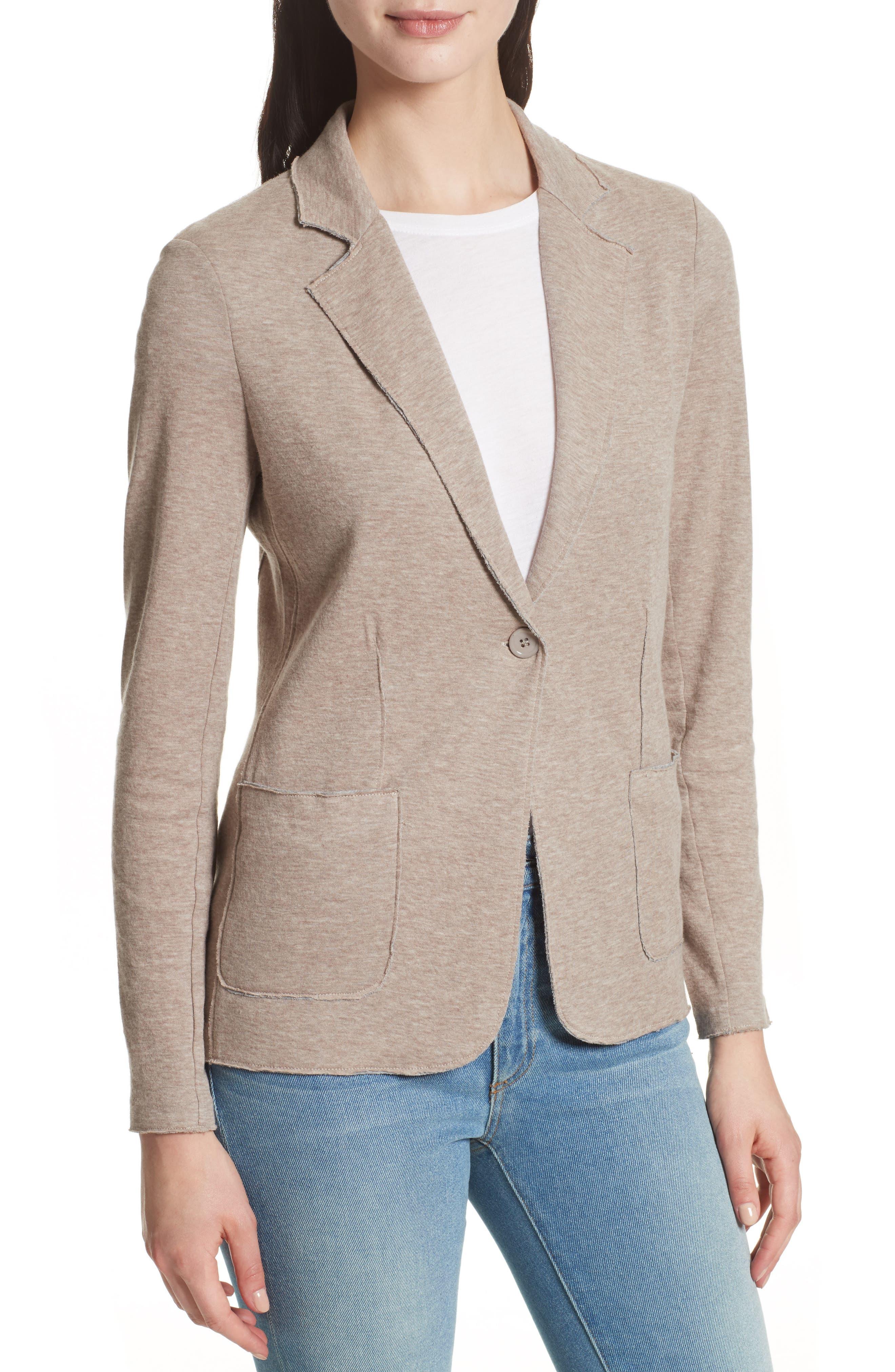 One-Button Cotton & Cashmere Blazer,                             Alternate thumbnail 4, color,                             Beige/ Grey