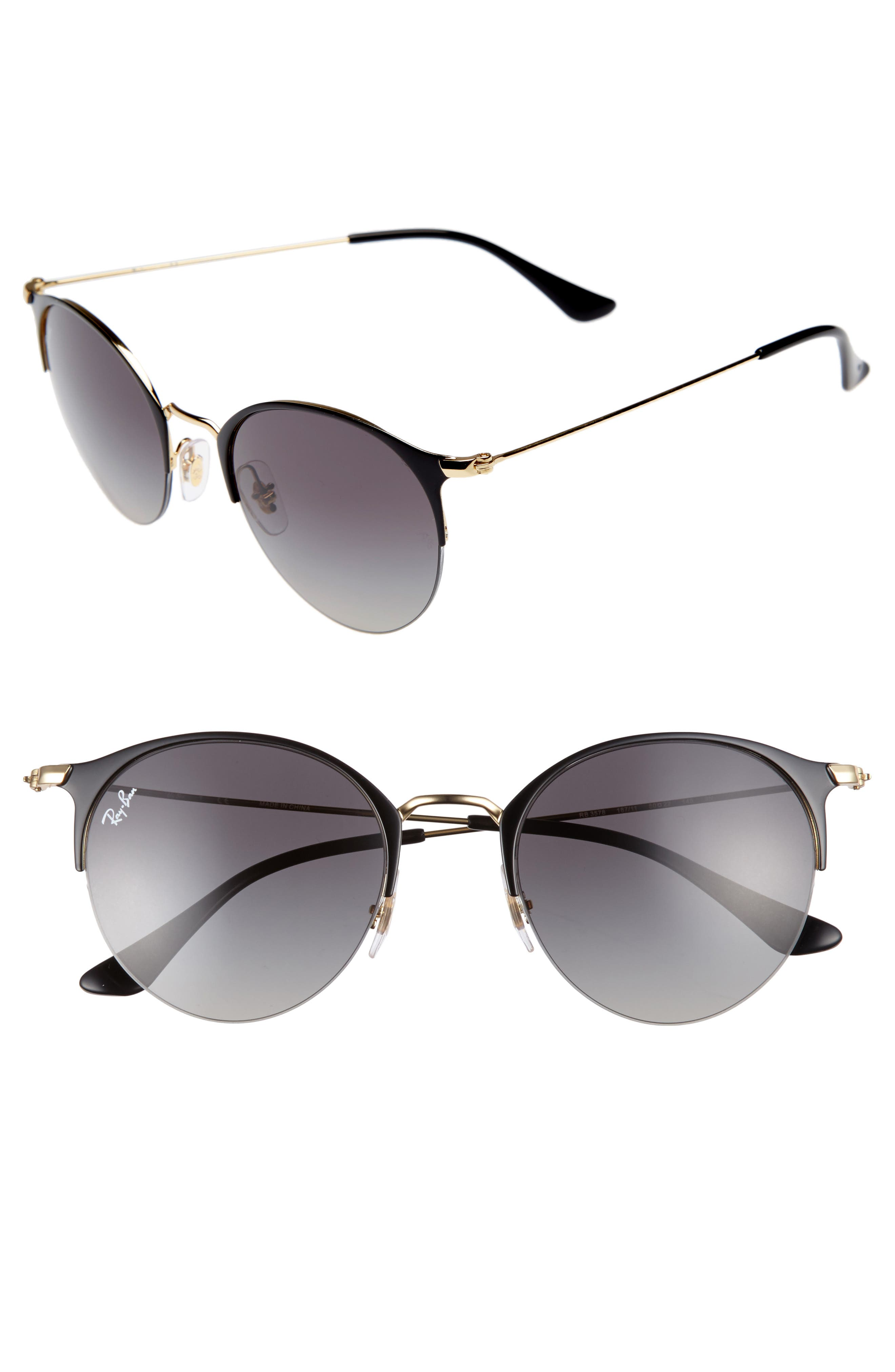 50mm Round Clubmaster Sunglasses,                         Main,                         color, Gold/ Black