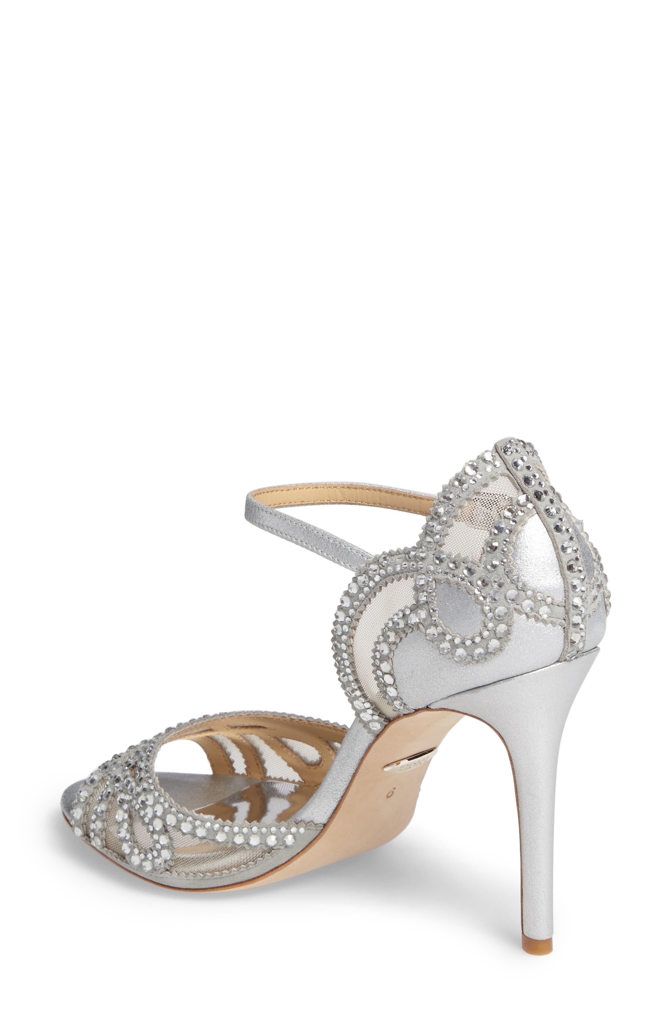 Embellished Mesh Sandal,                             Alternate thumbnail 2, color,                             Silver Metallic Suede