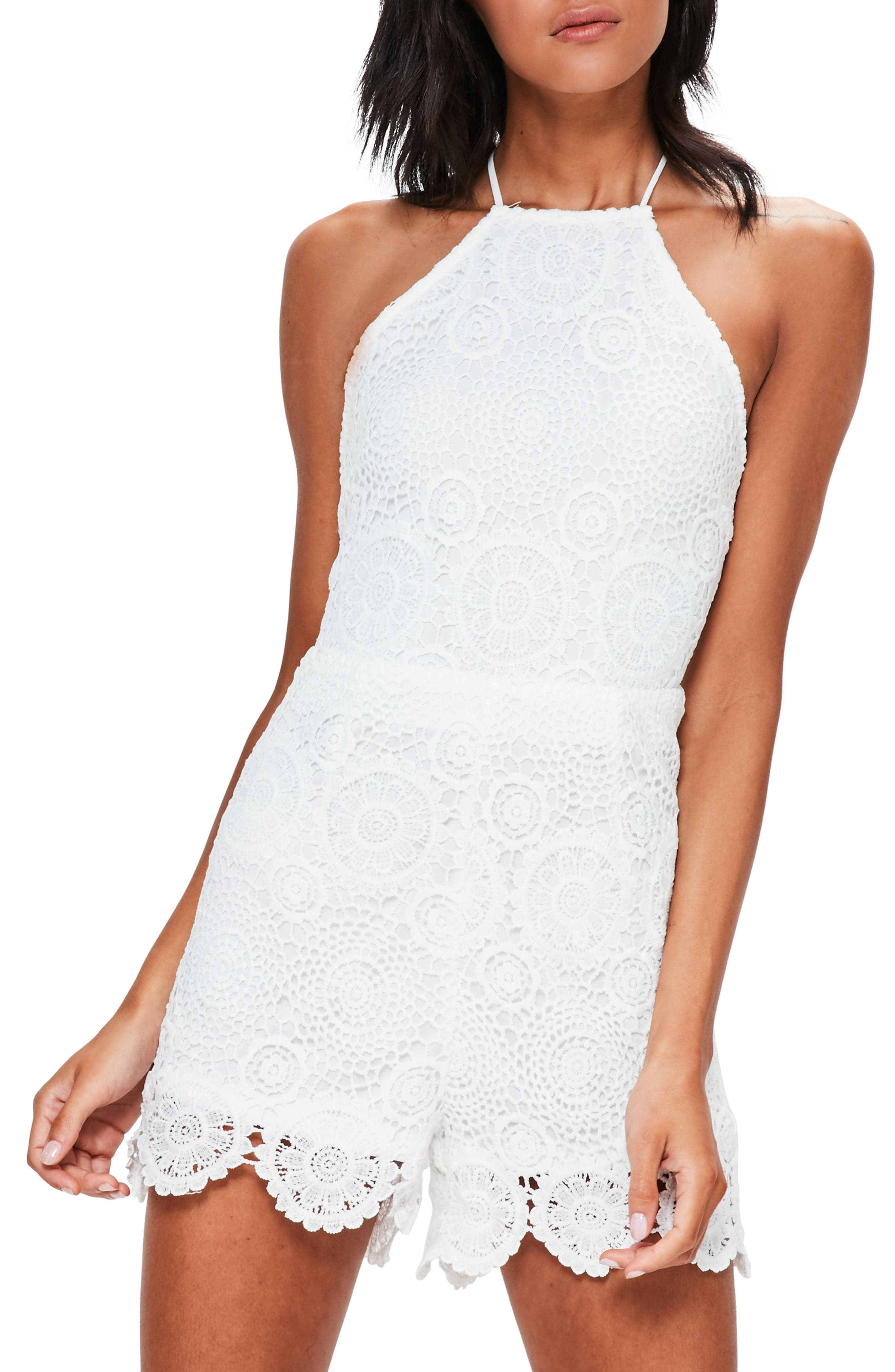 Missguidded Crochet Lace Halter Romper,                             Main thumbnail 1, color,                             White