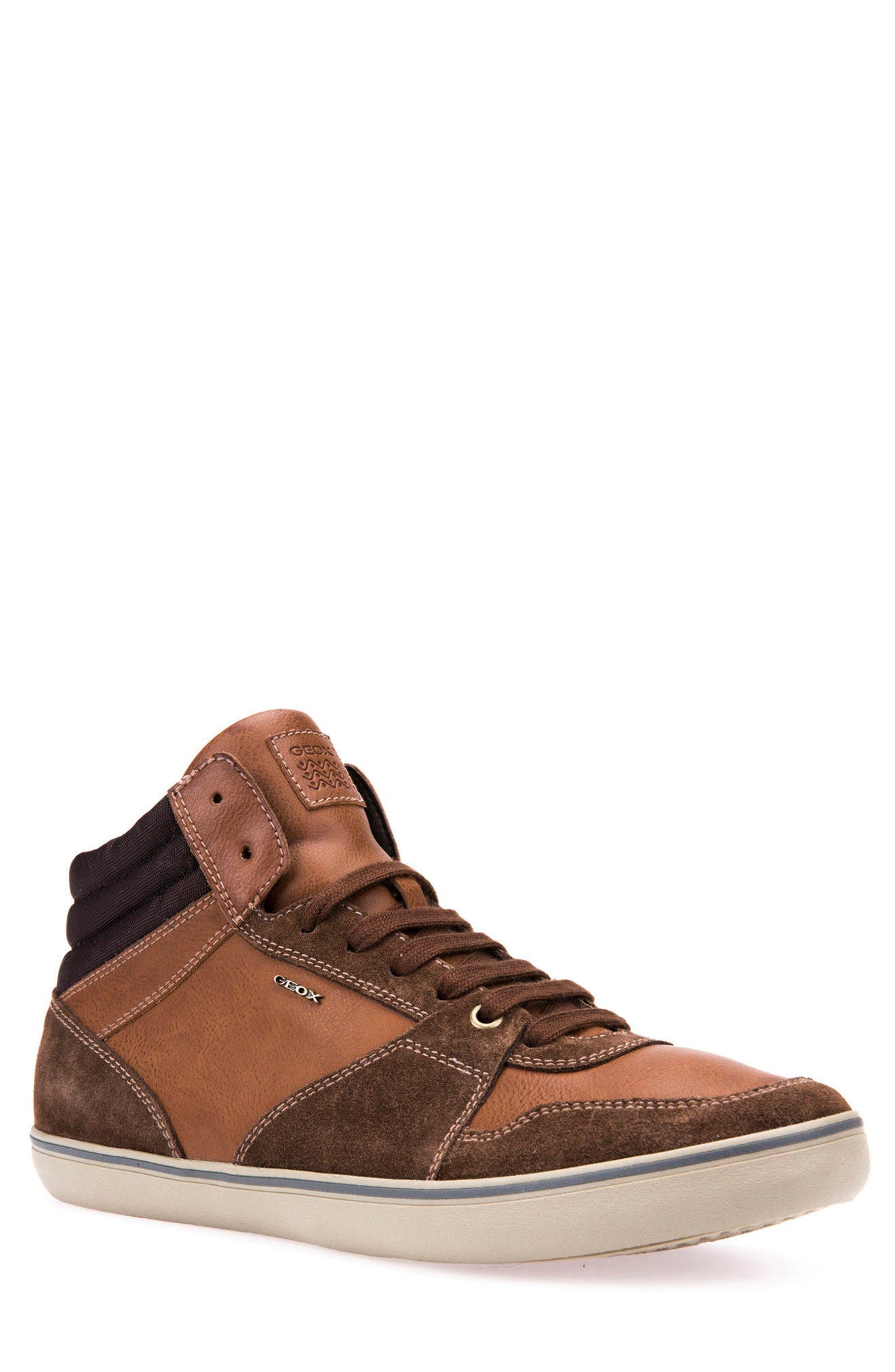 Box 30 High Top Sneaker,                             Main thumbnail 1, color,                             Ebony/ Brown Cotto