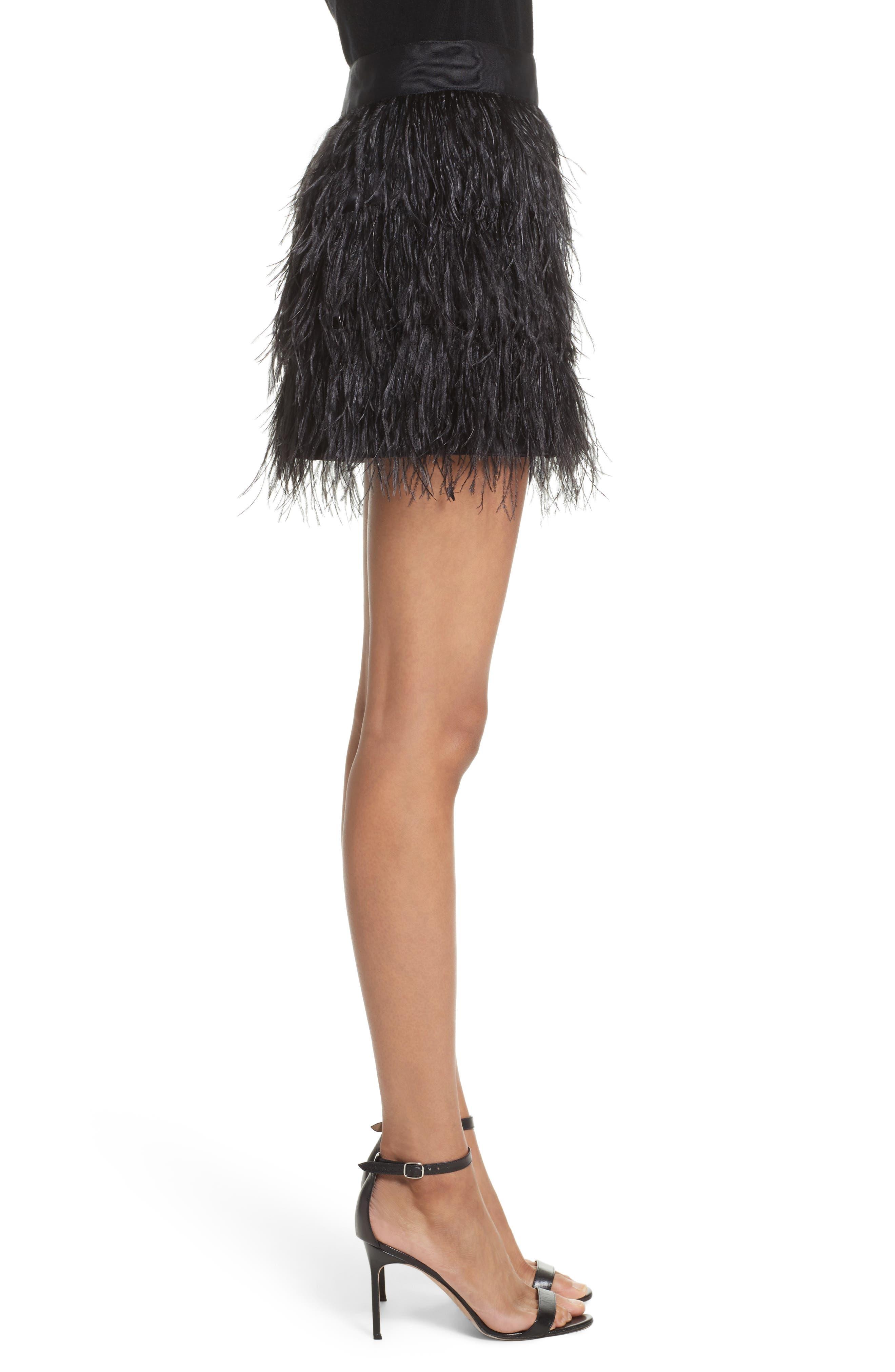 Feather Miniskirt,                             Alternate thumbnail 3, color,                             Black