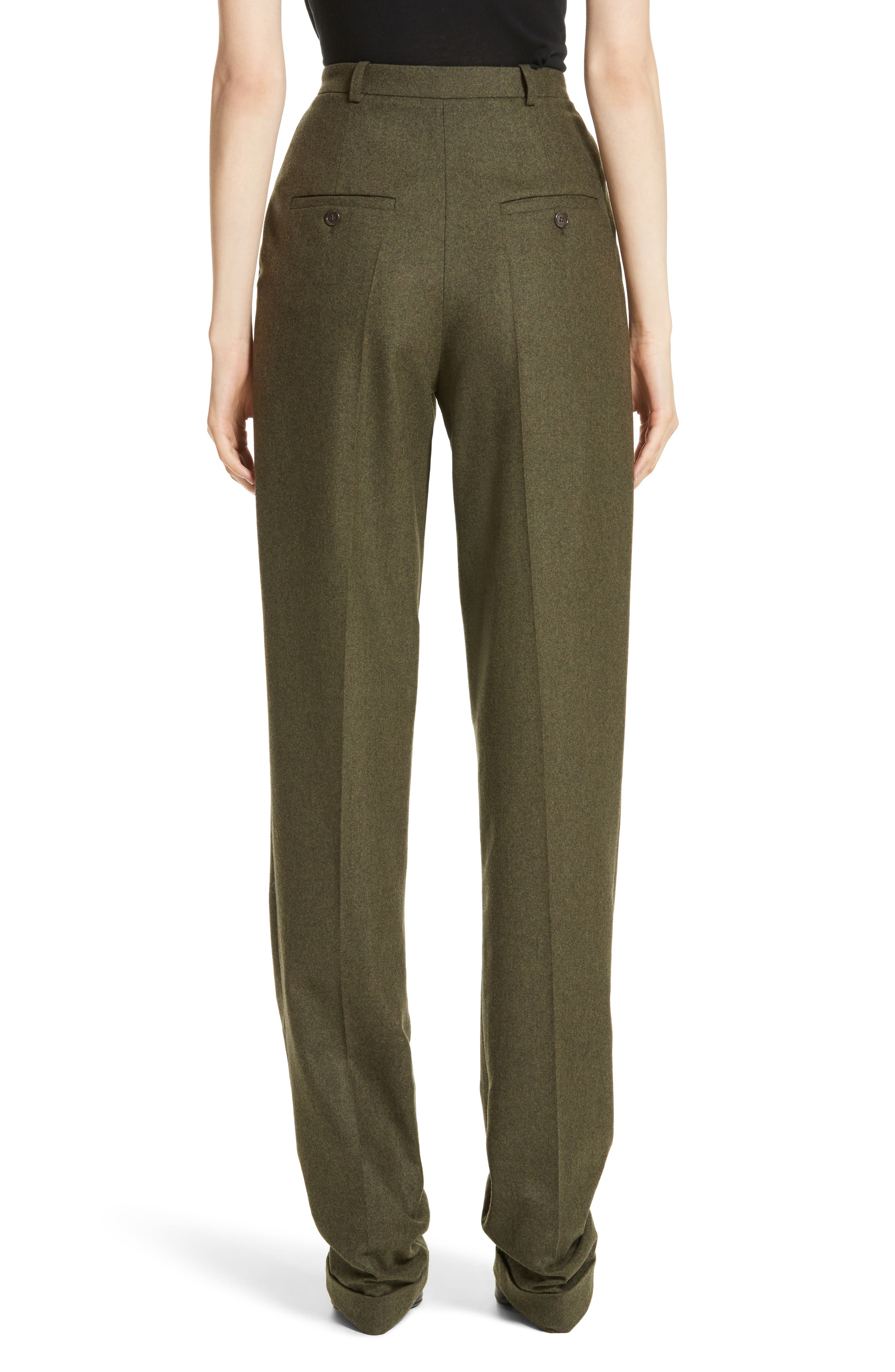 Wool & Cashmere Pleated Flannel Trousers,                             Alternate thumbnail 2, color,                             Olive Mlange