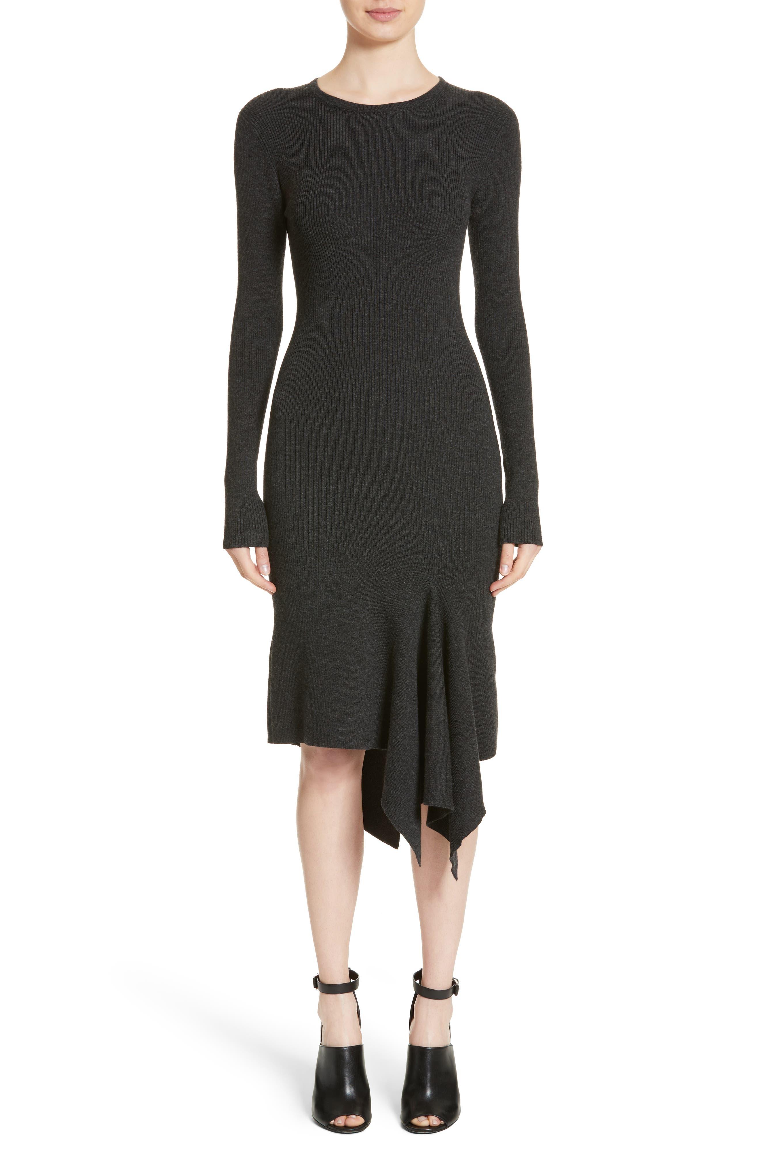 Merino Wool Blend Handkerchief Hem Dress,                         Main,                         color, Charcoal Mlange