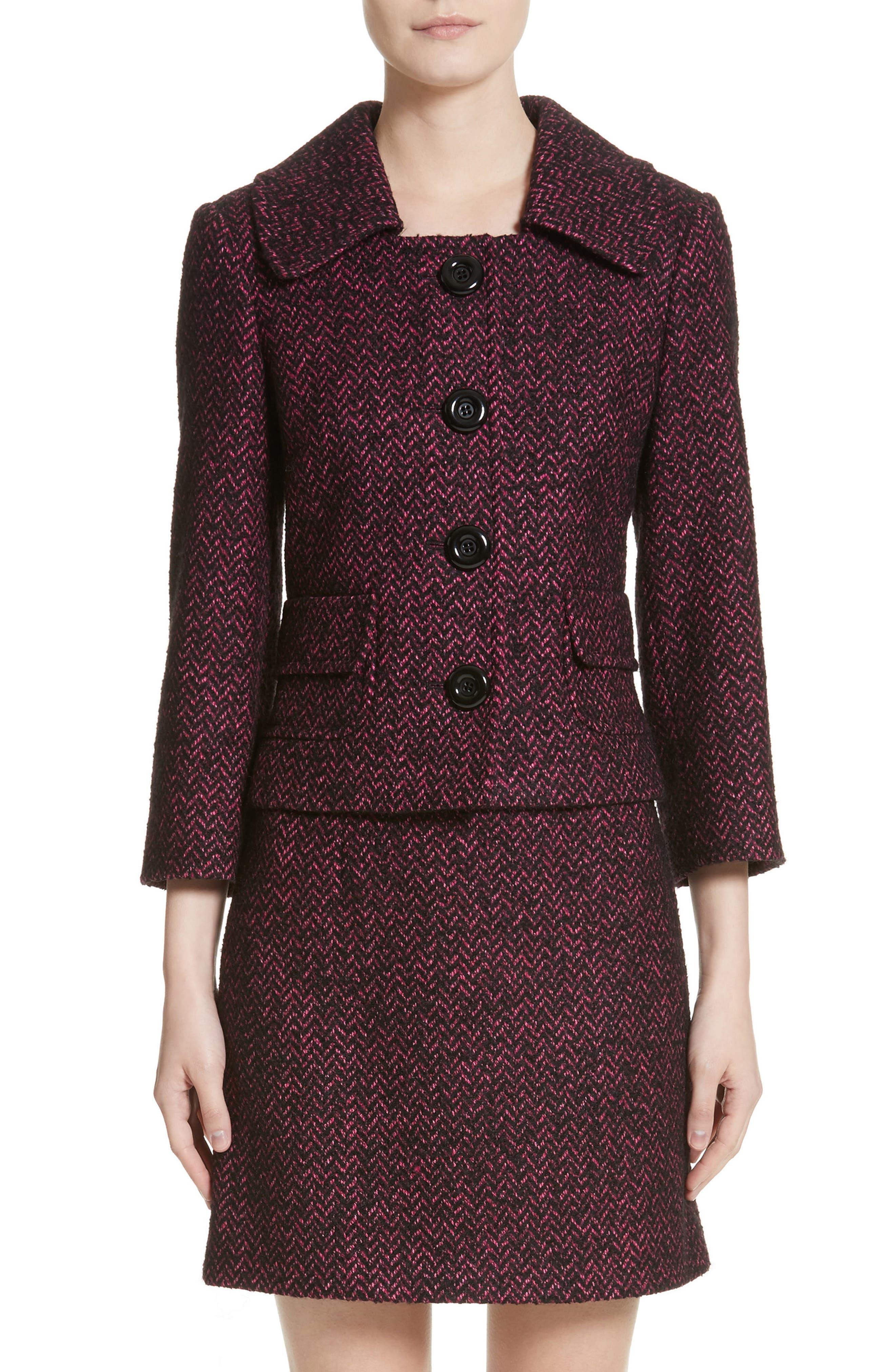 Herringbone Wool Blend Jacket,                             Main thumbnail 1, color,                             Magnolia/ Black