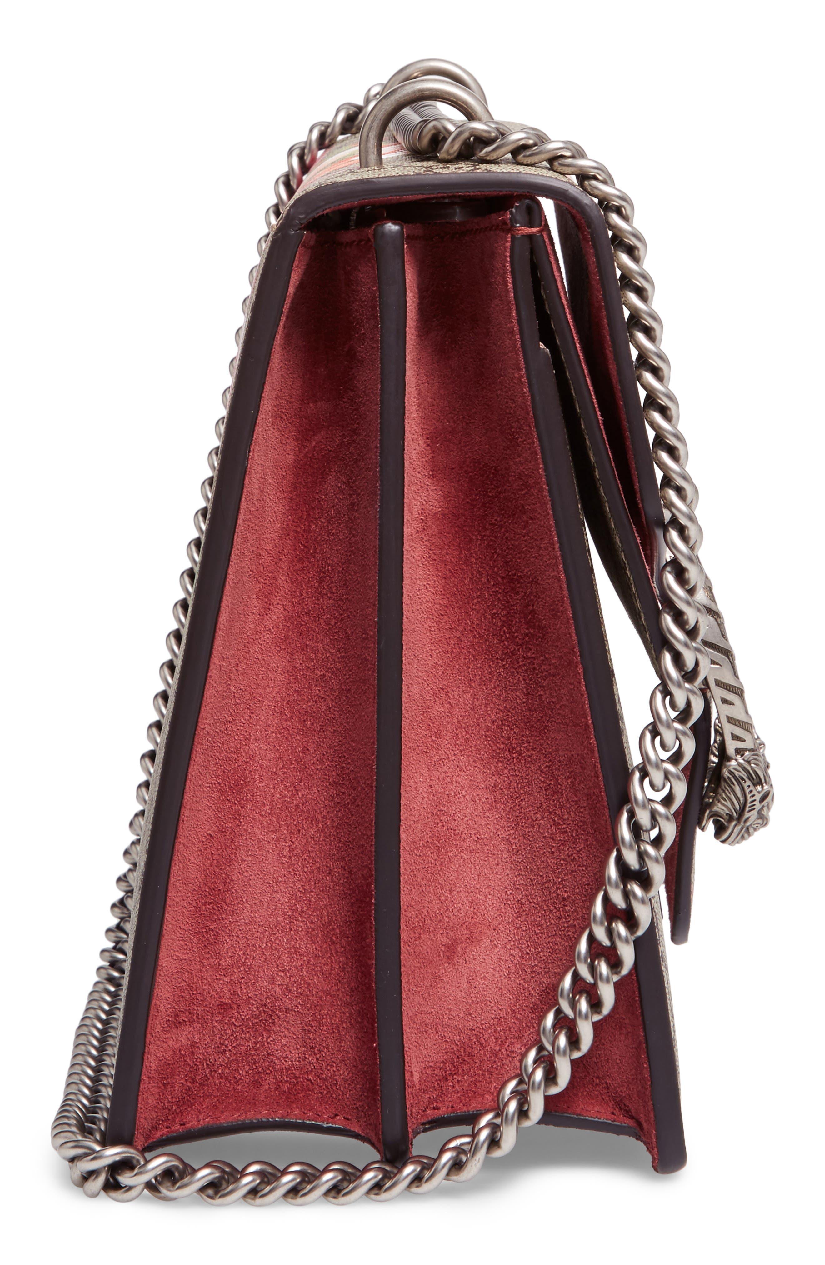 Alternate Image 5  - Gucci Large Floral GG Supreme Canvas & Suede Shoulder Bag