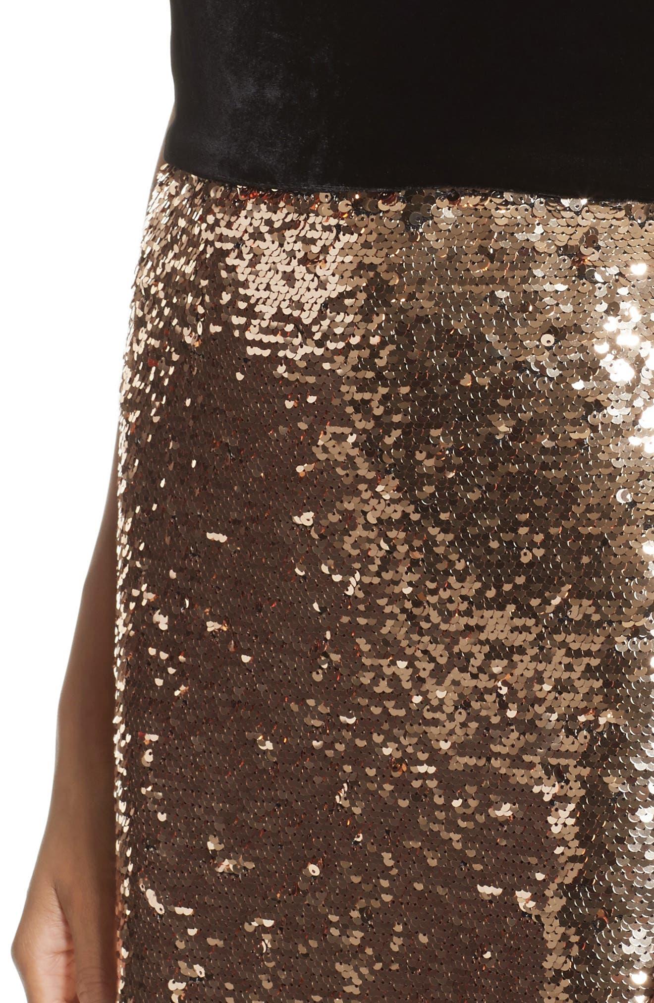 Strapless Velvet & Sequin Gown,                             Alternate thumbnail 4, color,                             Gold/ Noir