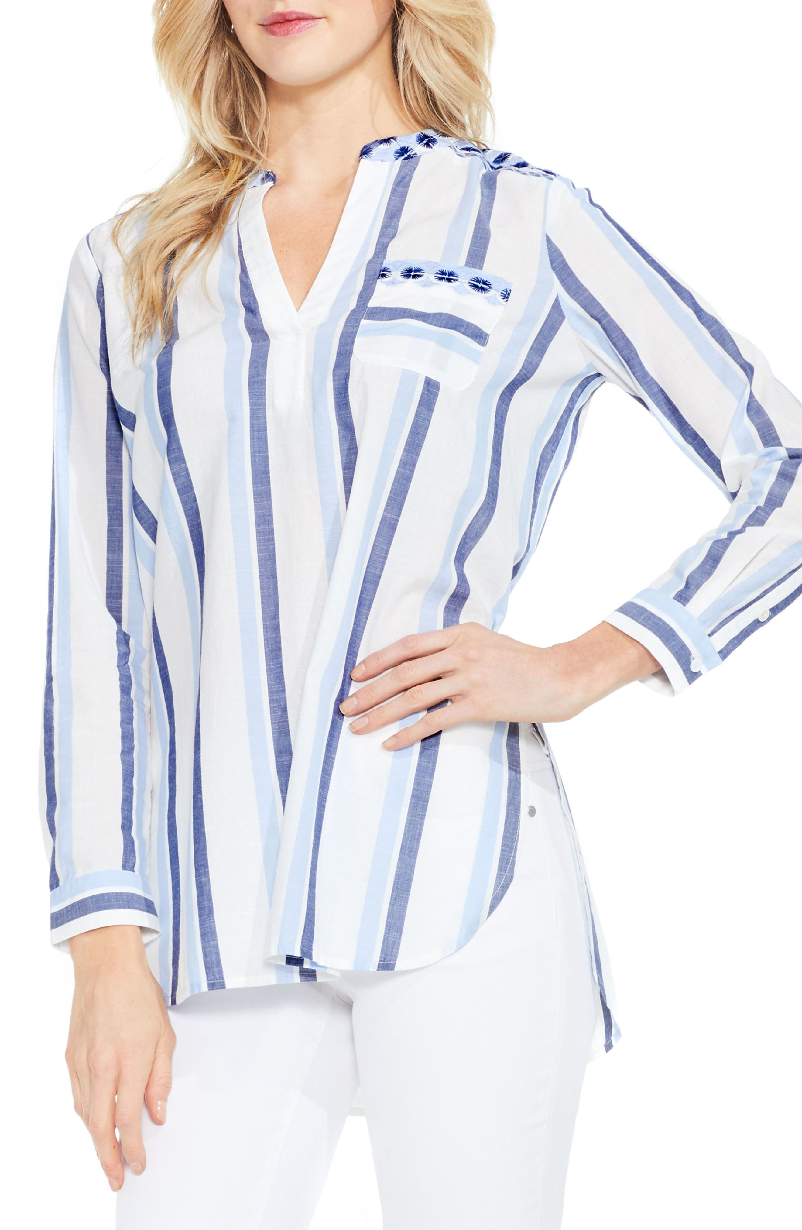 Two by Vince Camuto Embroidered Stripe Top